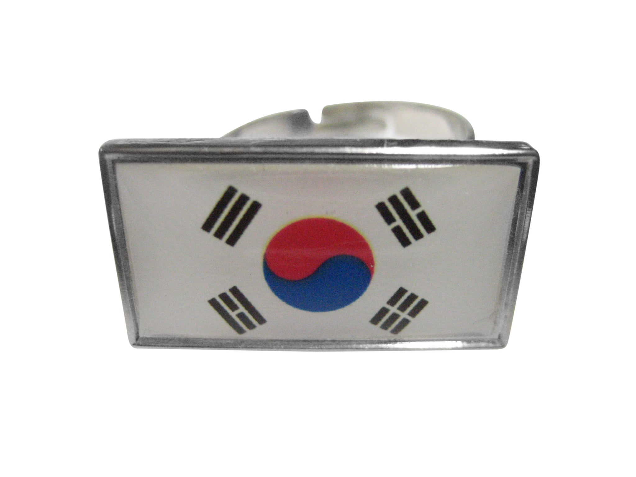 Thin Bordered South Korea Flag Adjustable Size Fashion Ring