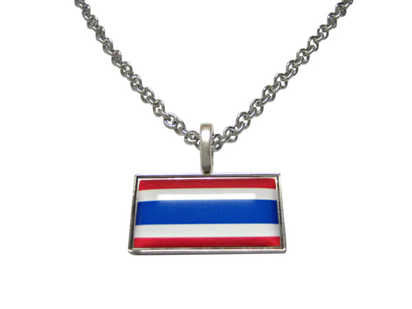 Thin Bordered Thailand Flag Pendant Necklace
