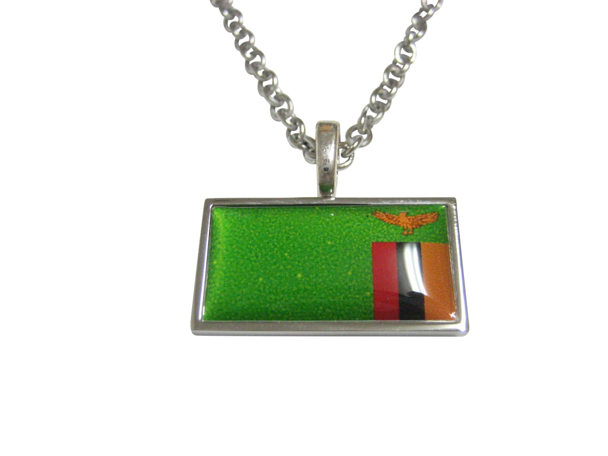Thin Bordered Zambia Flag Pendant Necklace