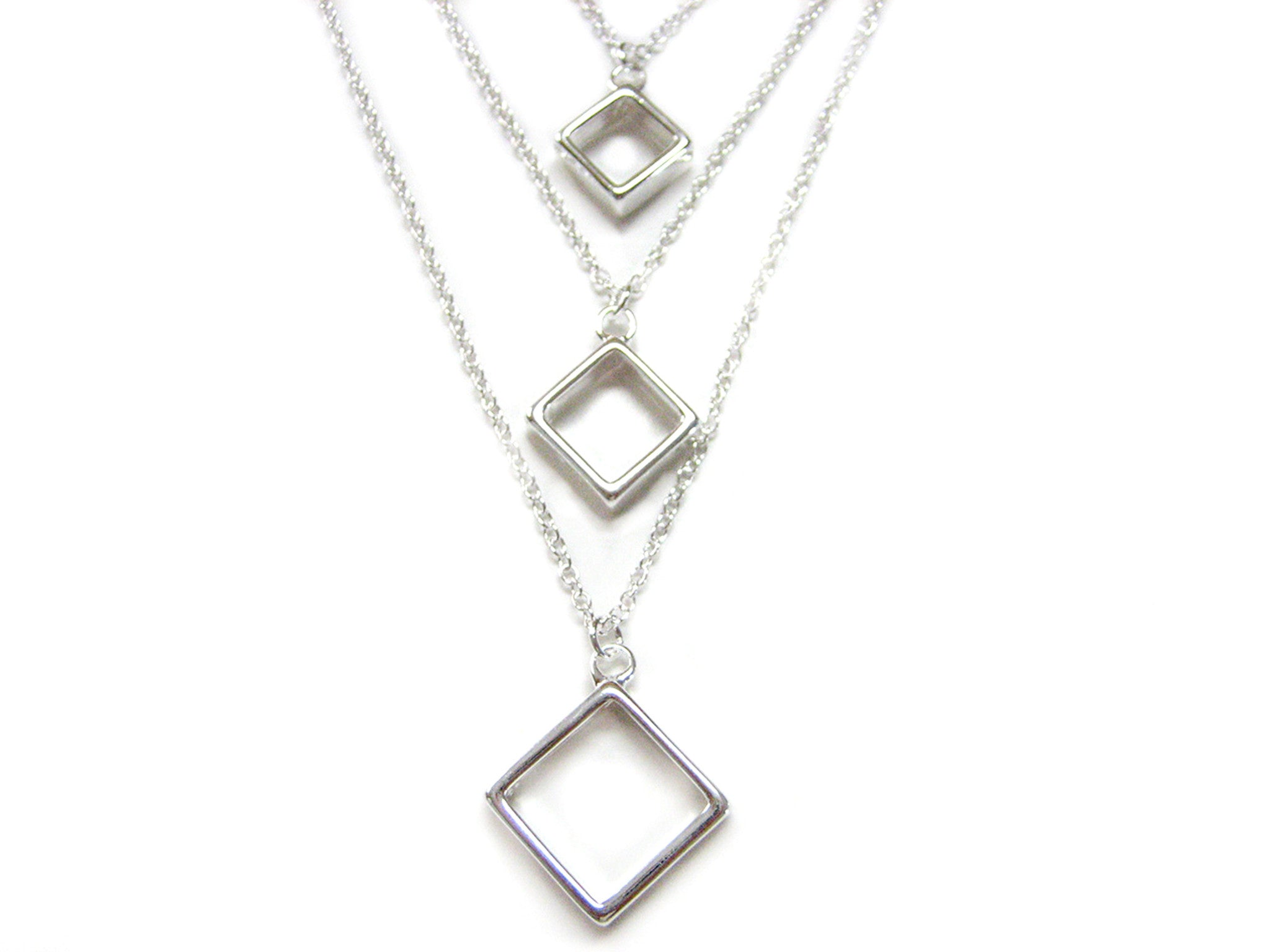 Tiered Square Pendant Necklace