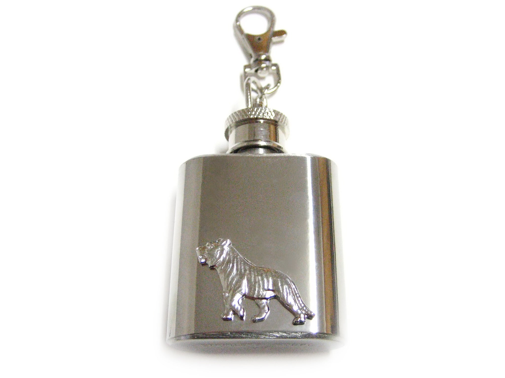 1 Oz. Stainless Steel Key Chain Flask with Tiger Pendant