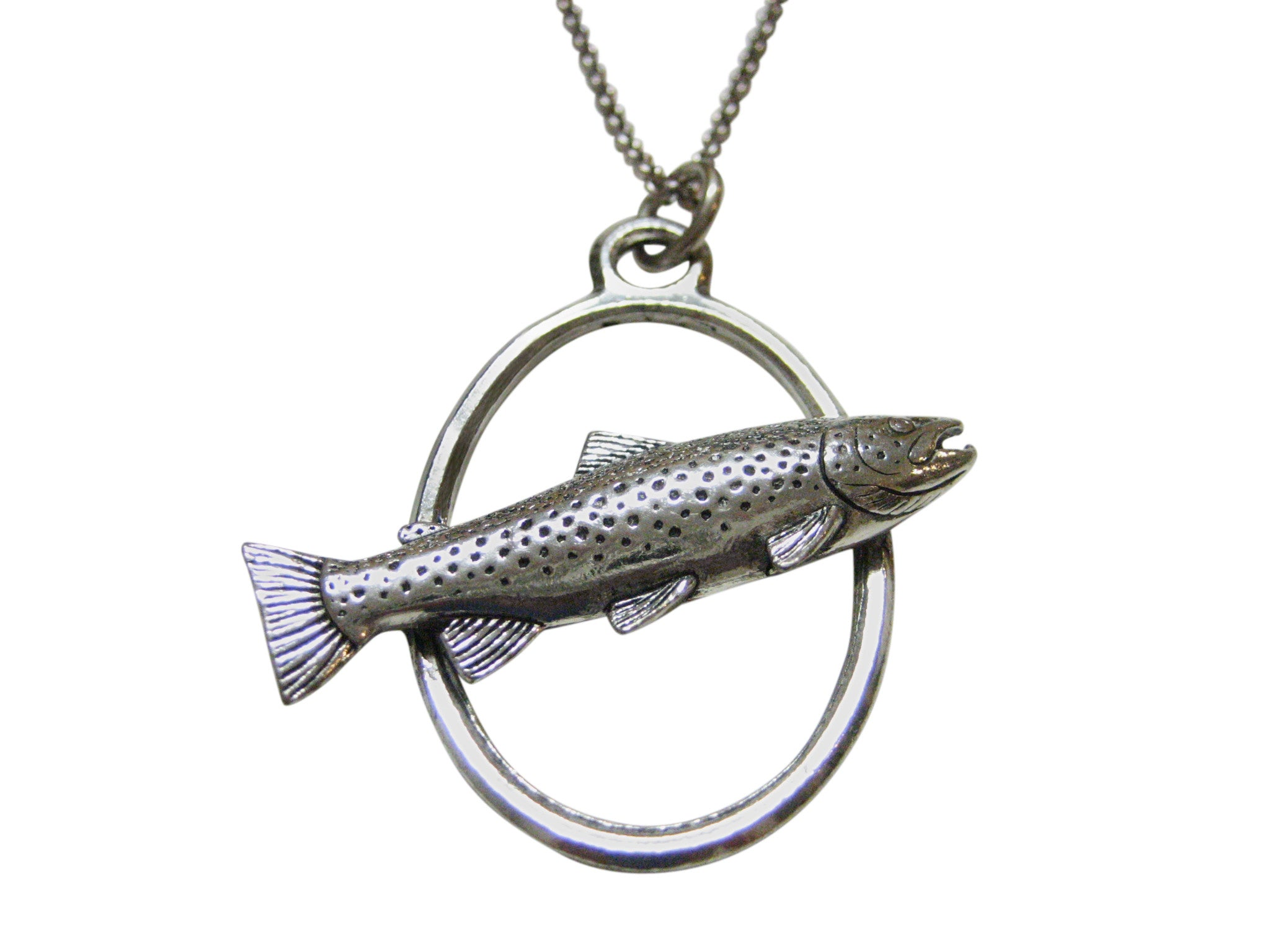 Trout Fish Large Oval Pendant Necklace