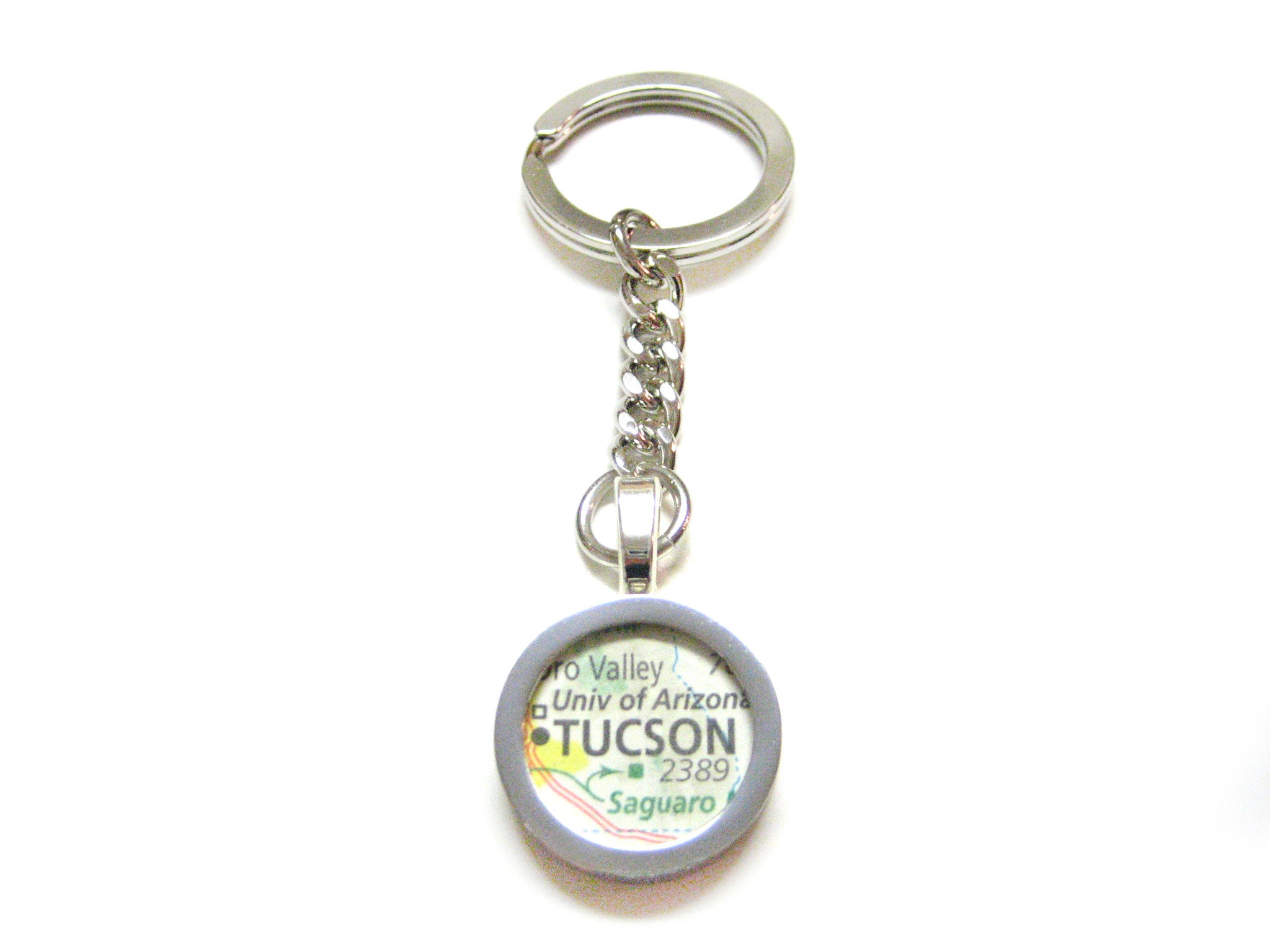 Tucson Arizona Map Pendant Keychain