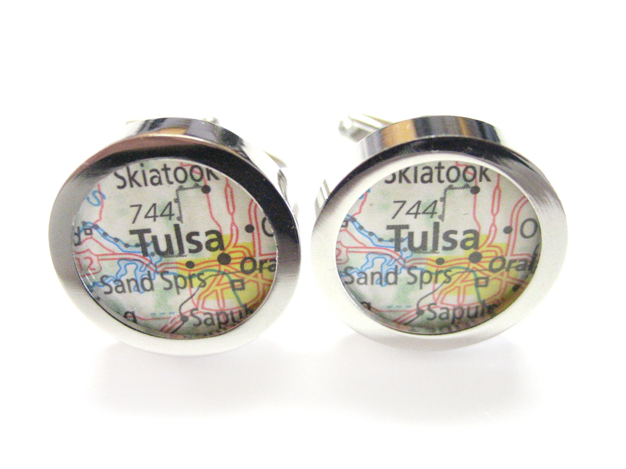 Tulsa Oklahoma Map Cufflinks