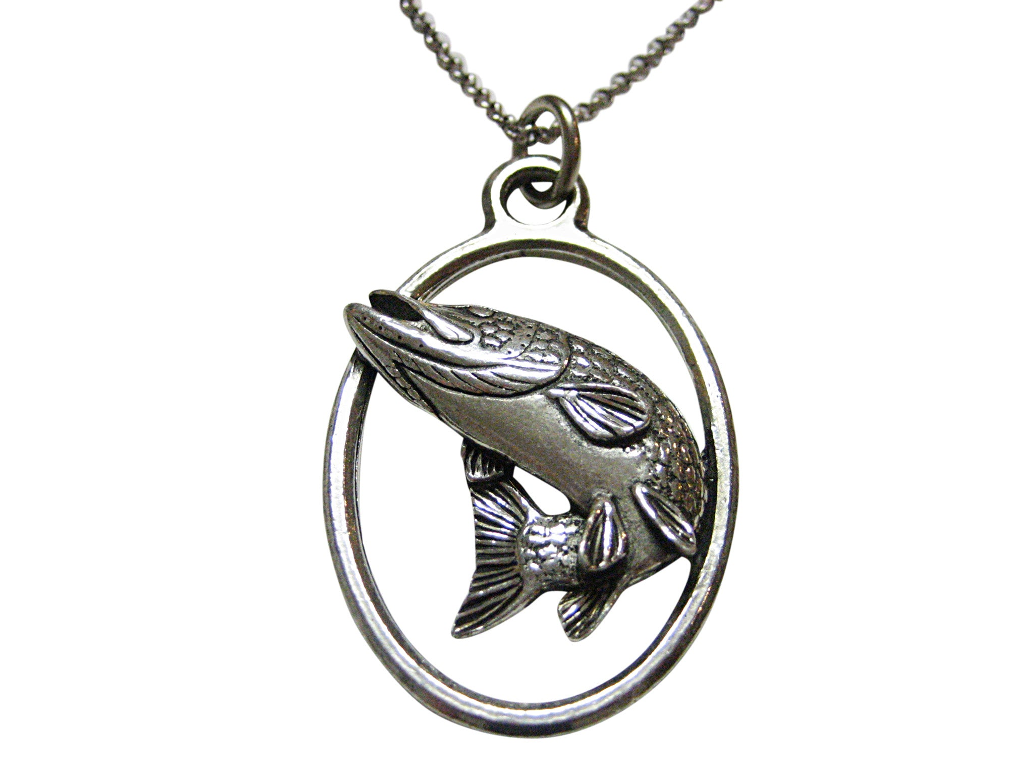 Turning Pike Fish Large Oval Pendant Necklace