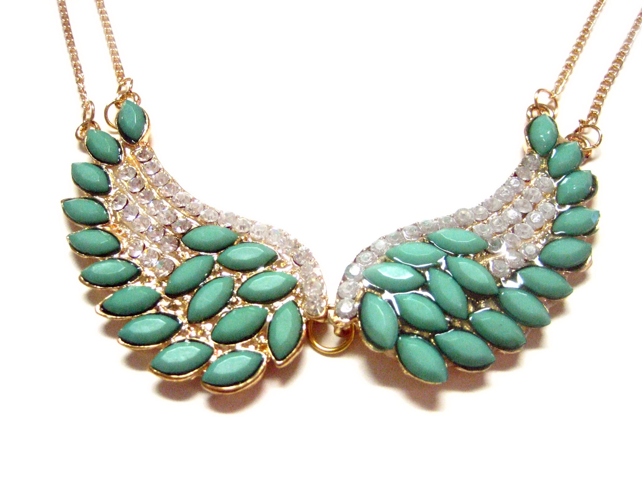 Turquoise Double Winged Double Chain Pendant Necklace