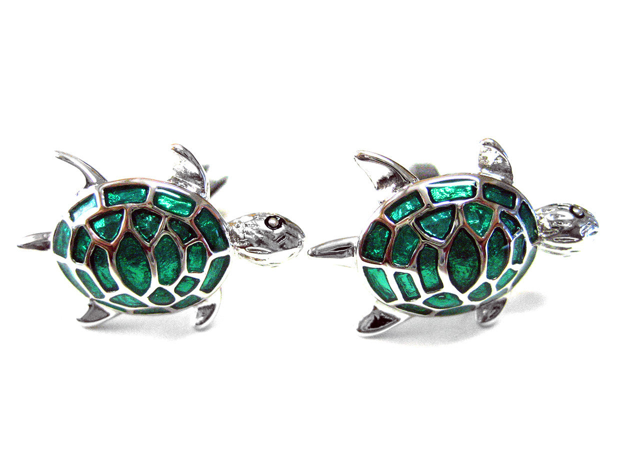Metallic Green Turtle Cufflinks