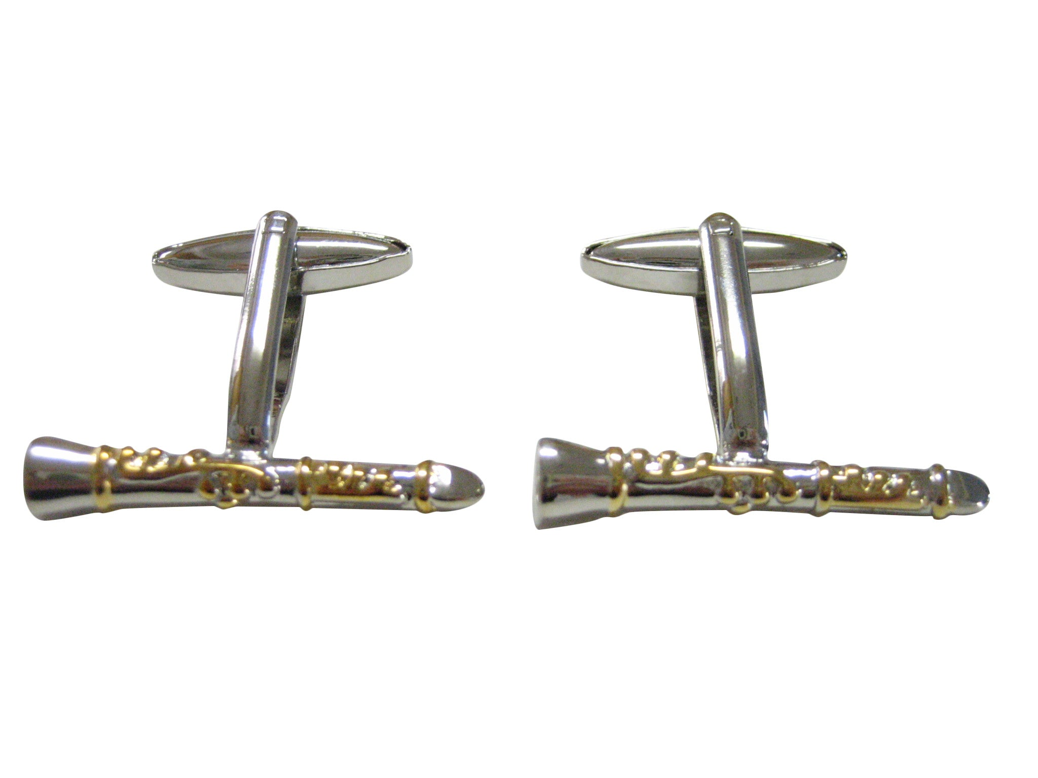 Two Toned Clarinet Musical Instrument Cufflinks