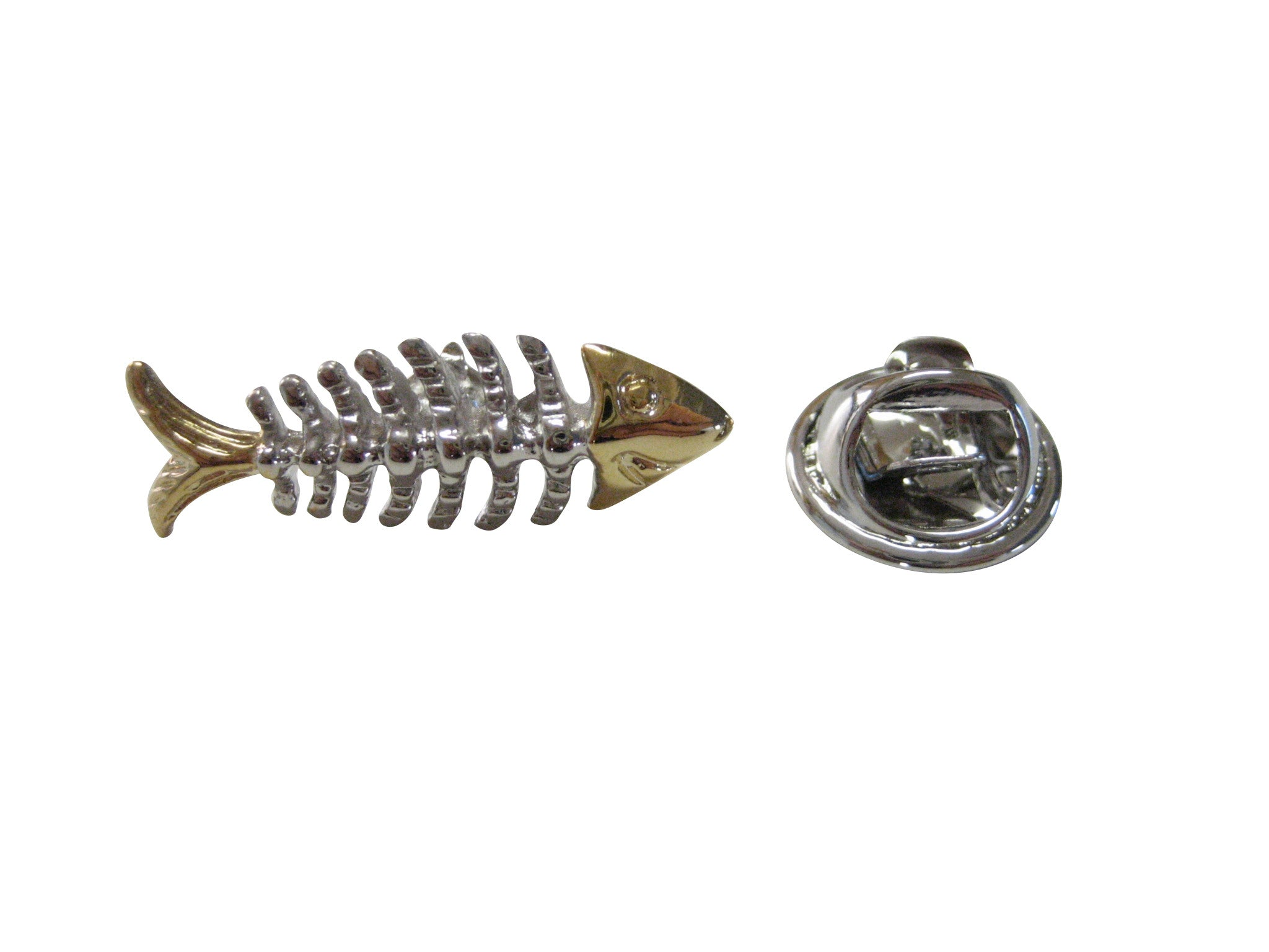 Two Toned Fish Bone Lapel Pin