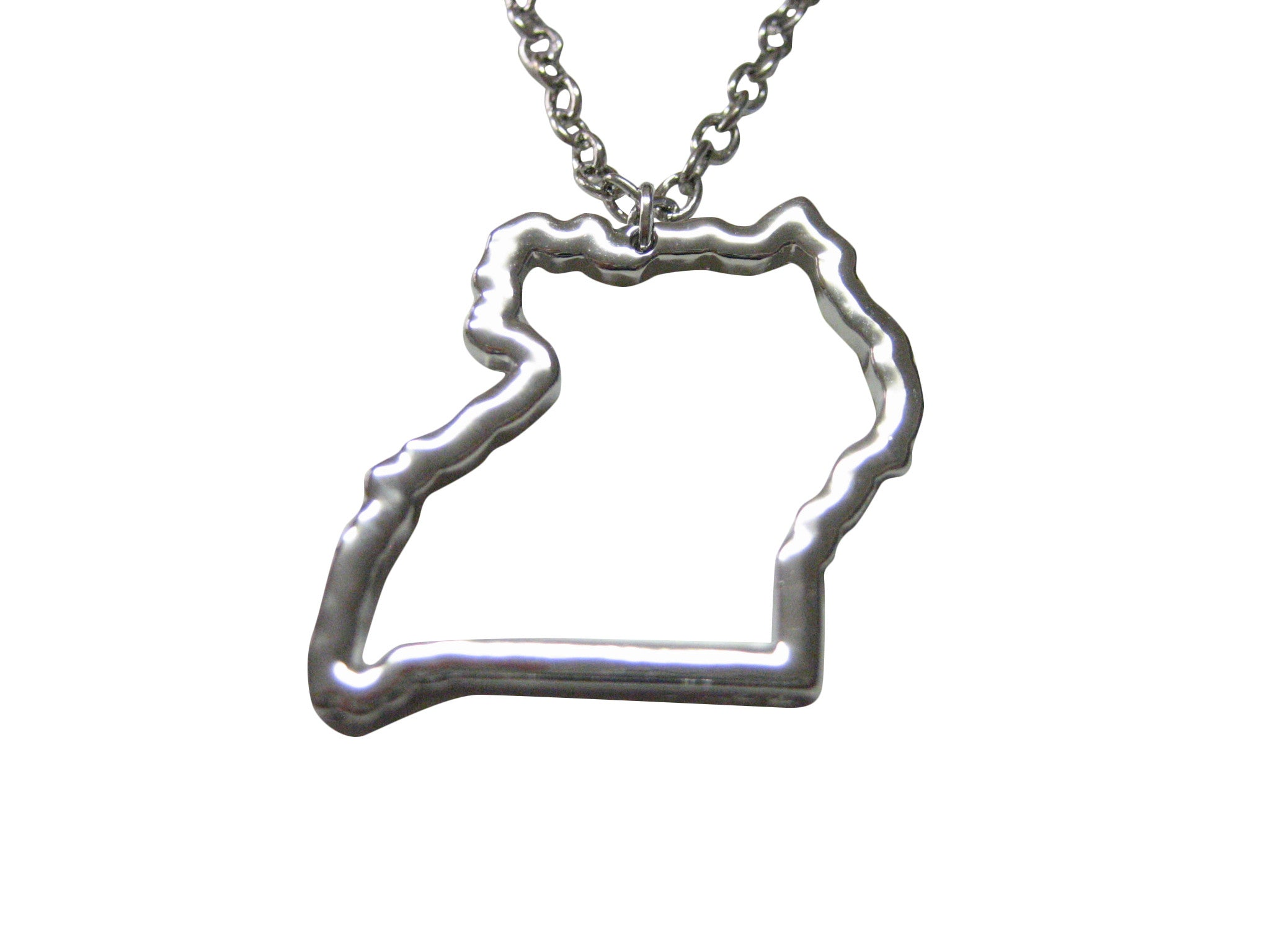 Silver Toned Uganda Map Outline Pendant Necklace