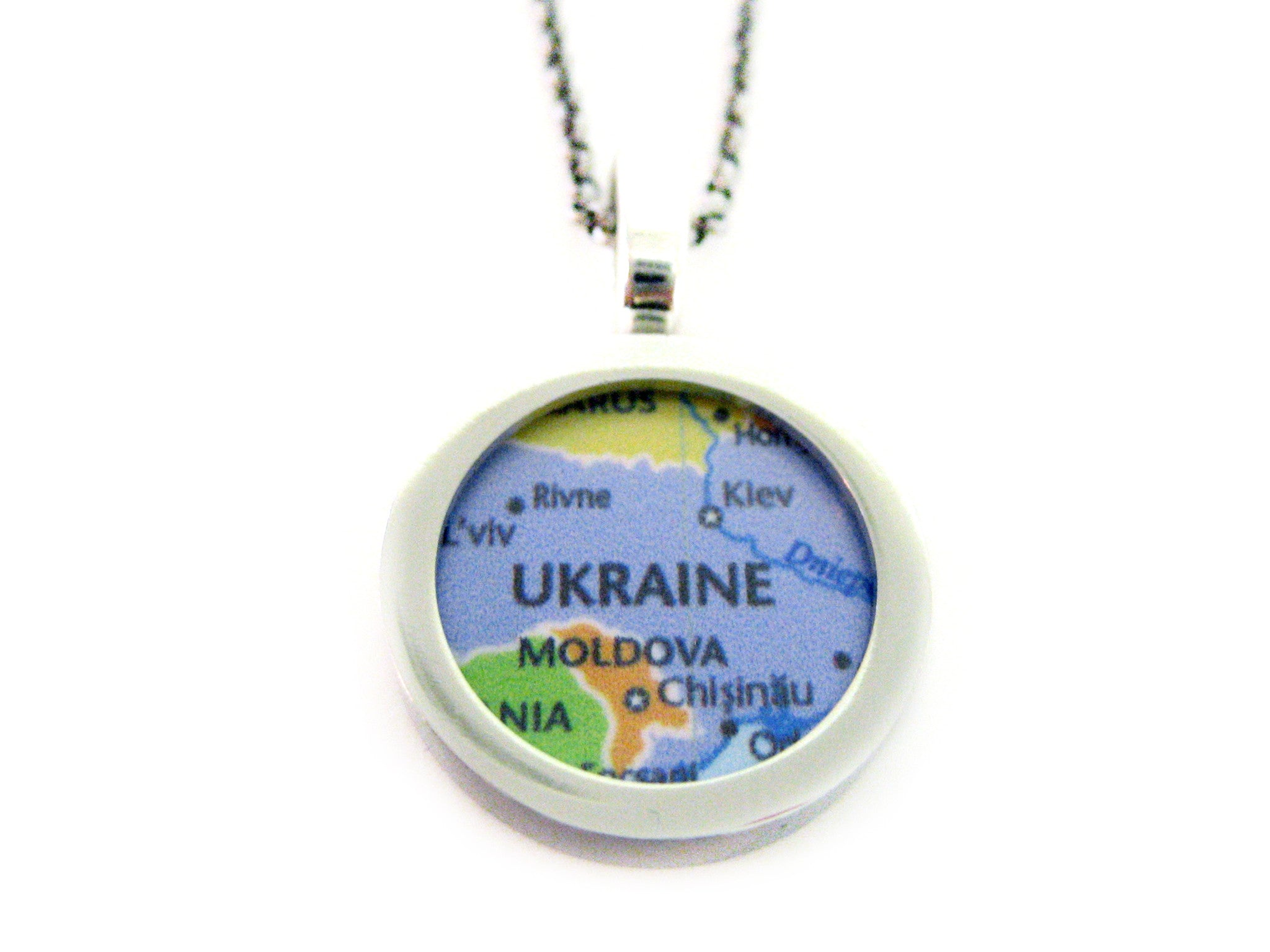 Ukraine Map Pendant Necklace