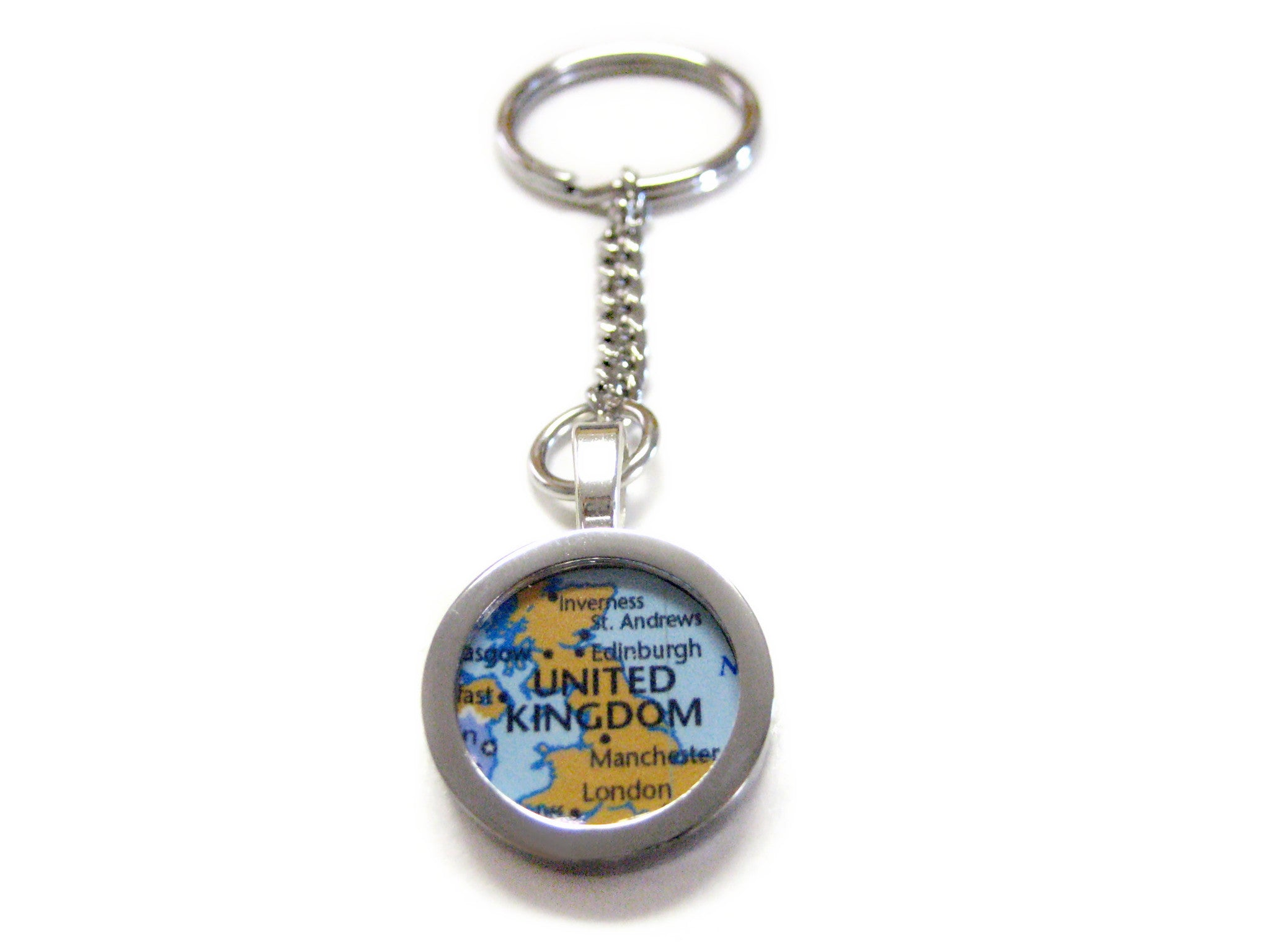 United Kingdom Map Pendant Keychain