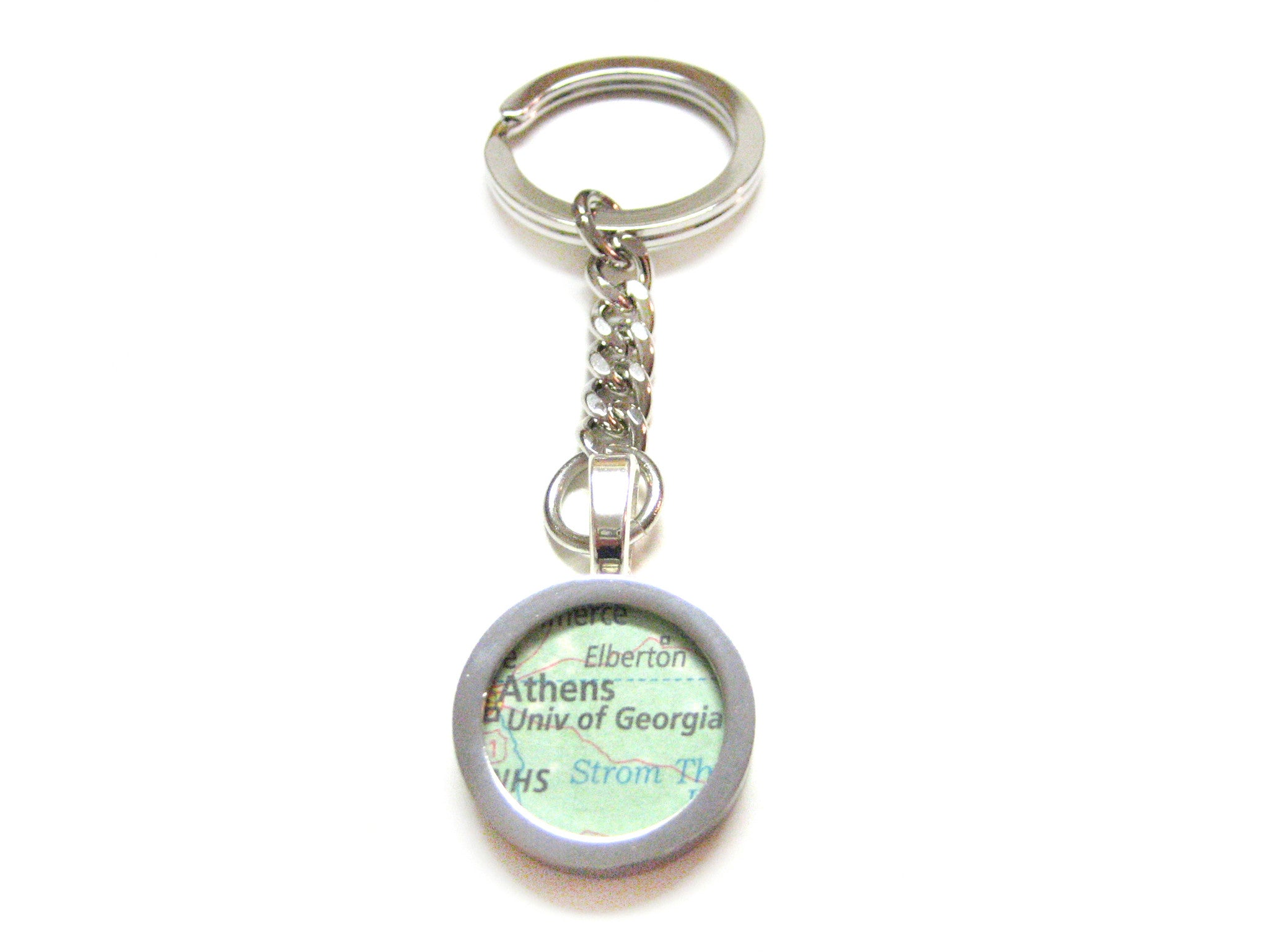 University of Georgia Map Pendant Keychain