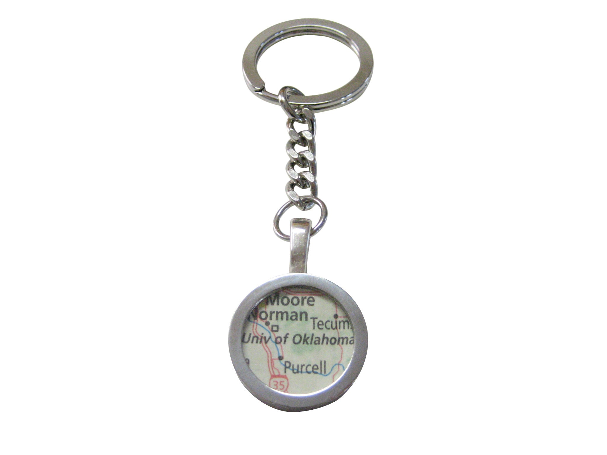 University of Oklahoma Map Pendant Keychain