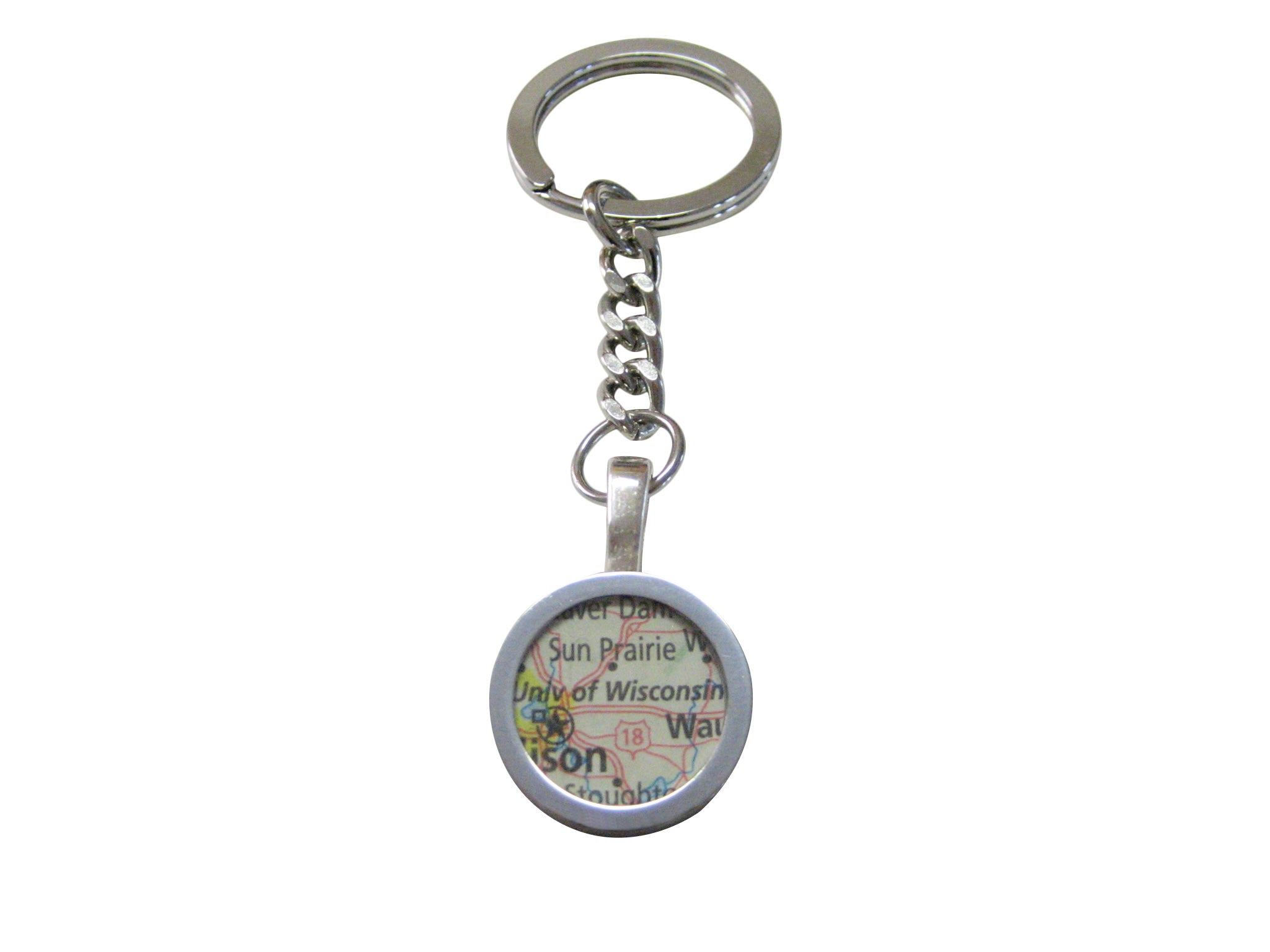 University of Wisconsin Map Pendant Keychain