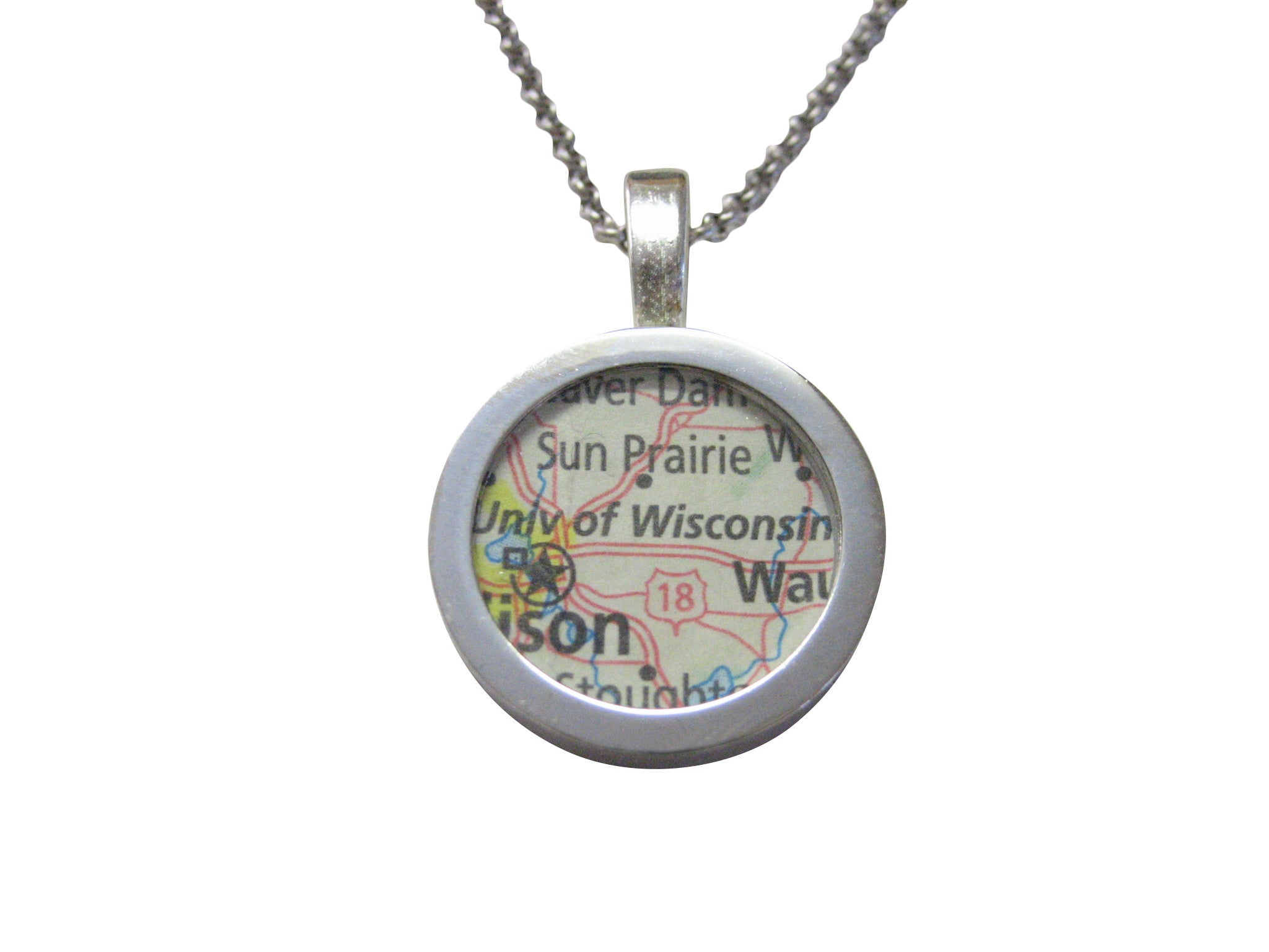University of Wisconsin Map Pendant Necklace