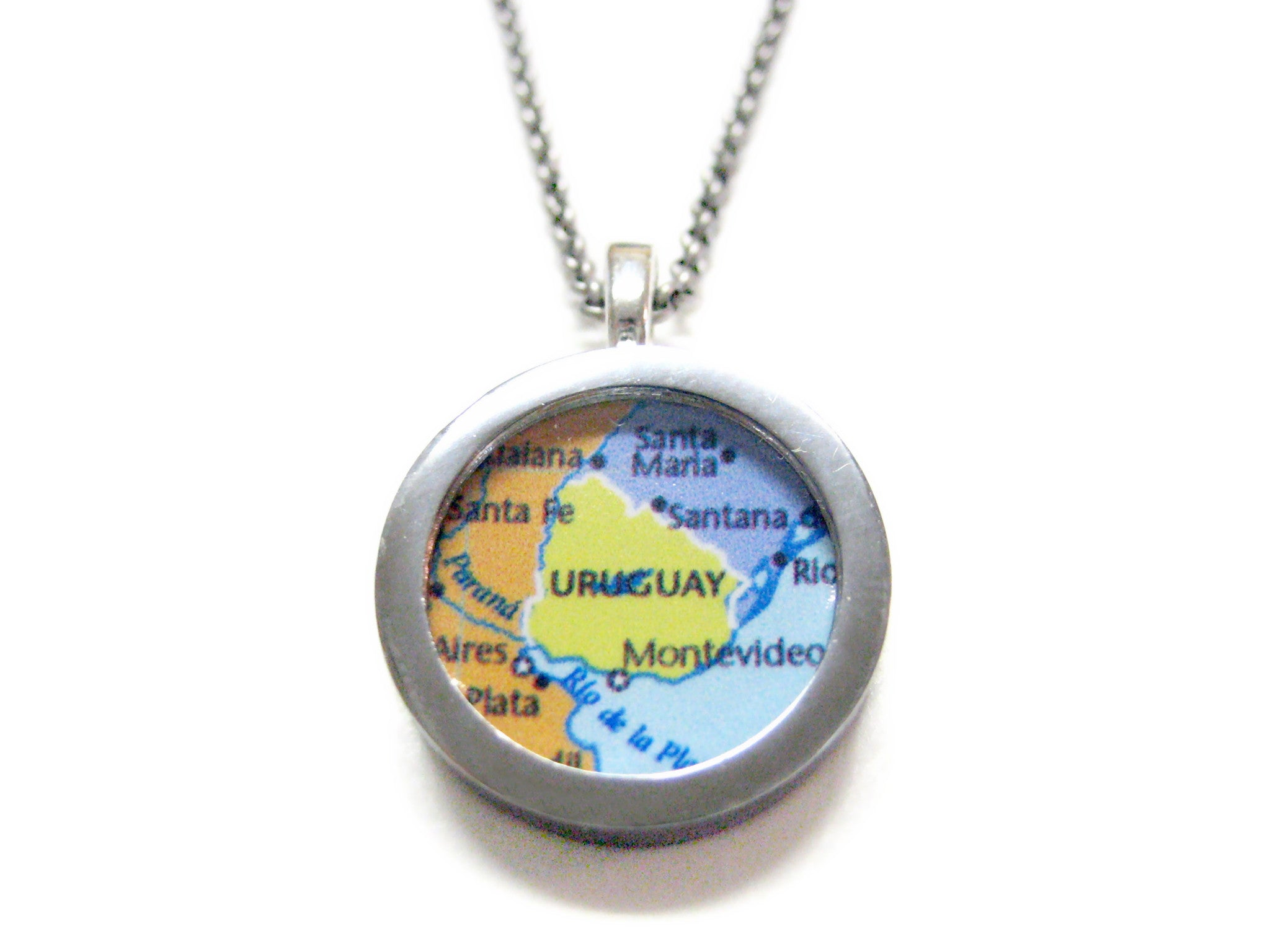 Uruguay Map Pendant Necklace