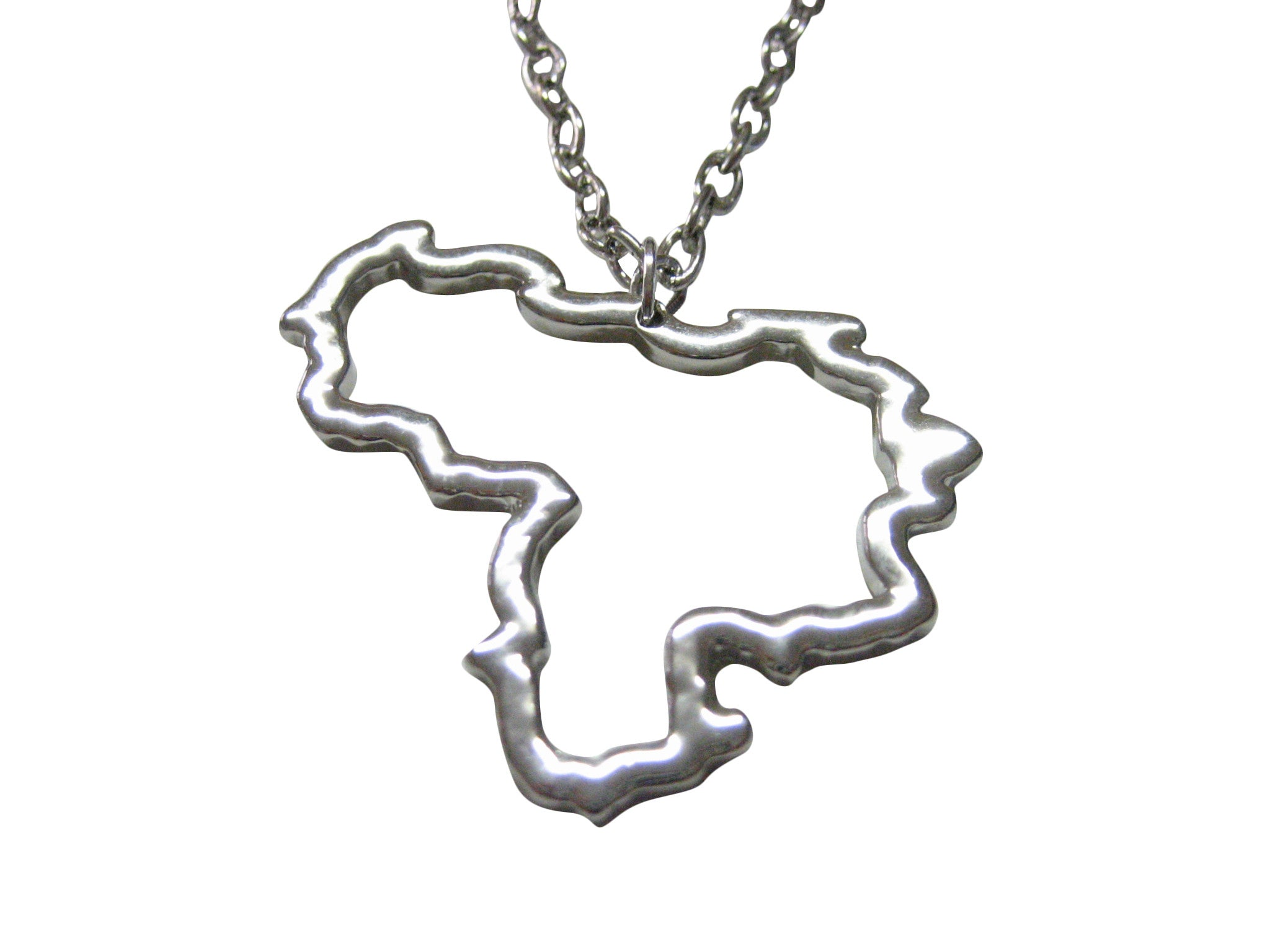 Silver Toned Venezuela Map Outline Pendant Necklace