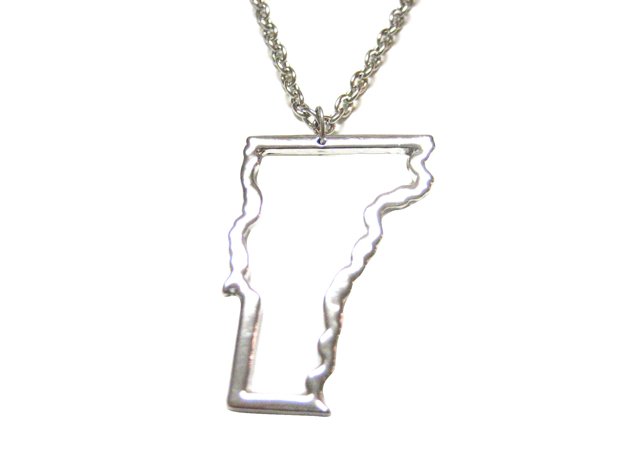 Silver Toned Vermont State Map Outline Pendant Necklace