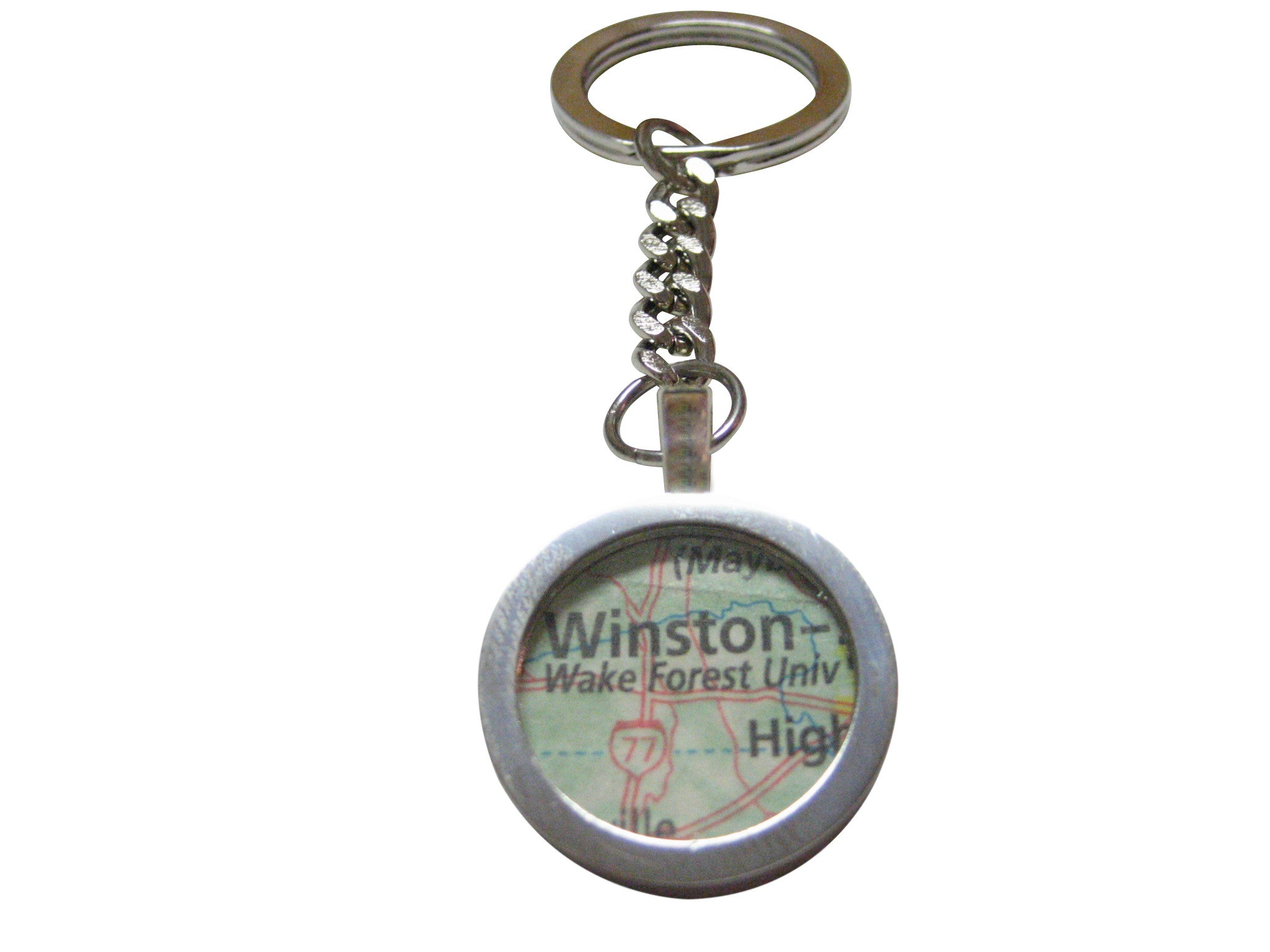 Wake Forest University Map Pendant Key Chain - Kiola Designs