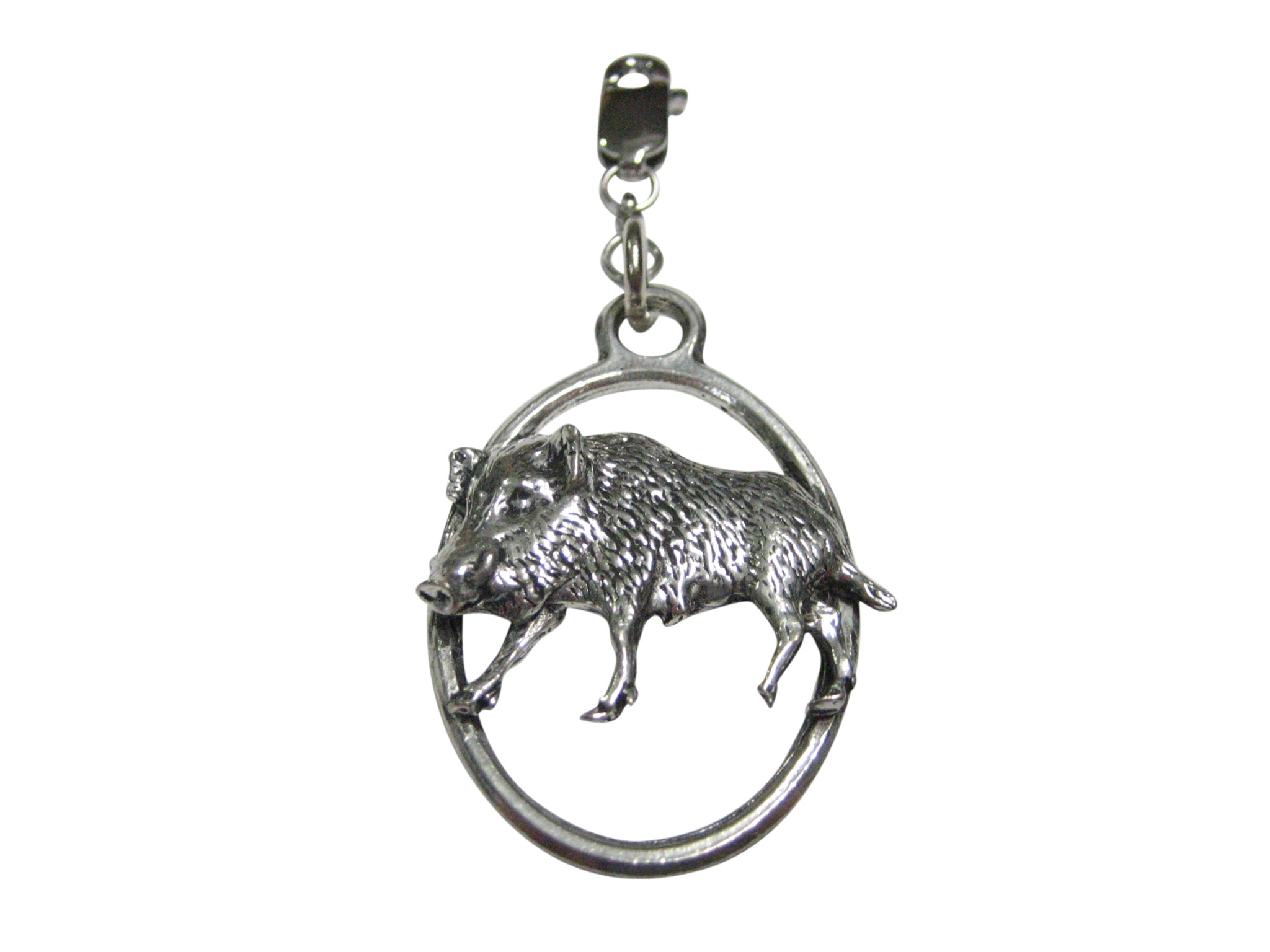 Walking Boar Hog Razorback Pig Large Oval Pendant Zipper Pull Charm
