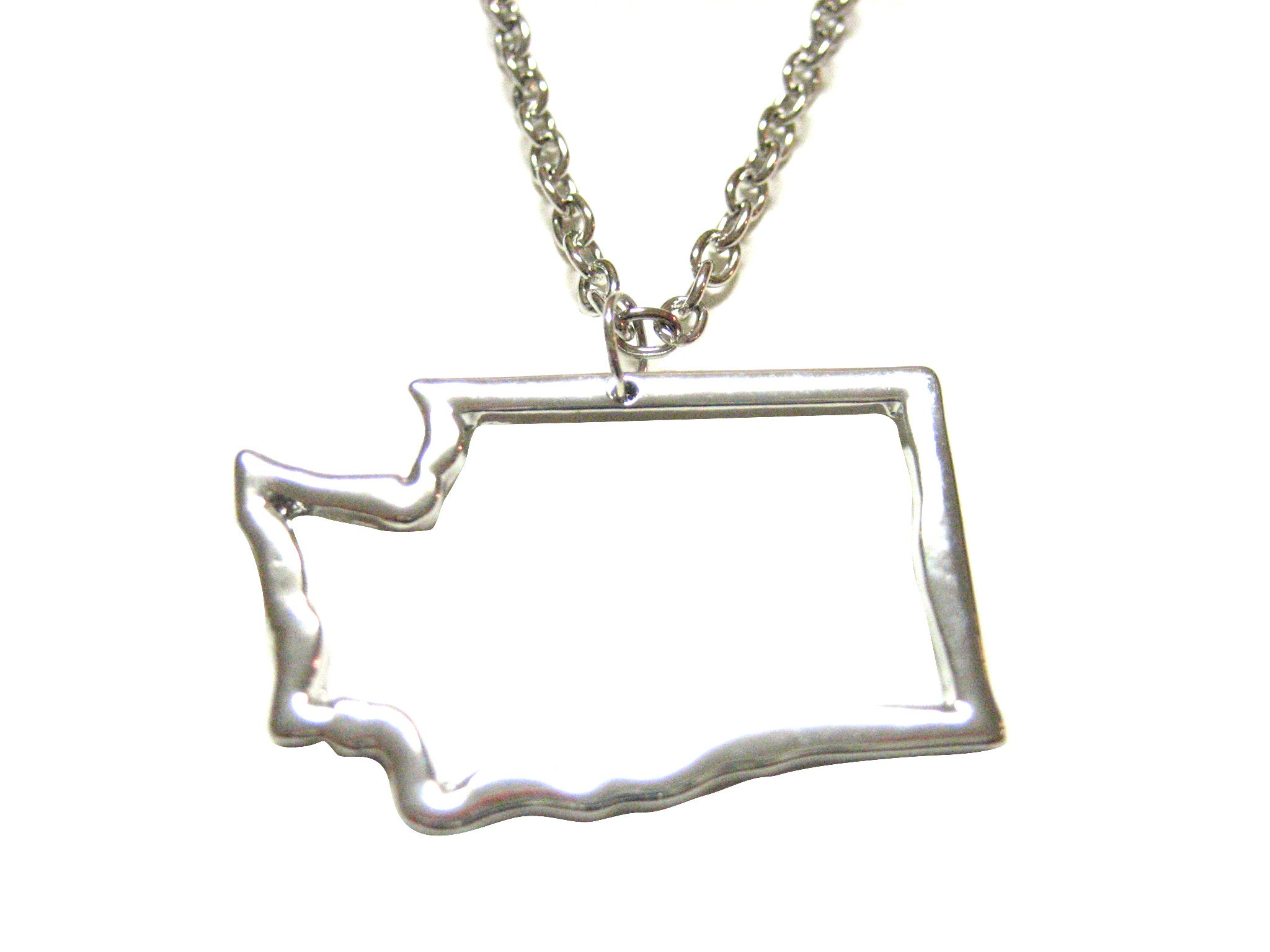 Silver Toned Washington State Map Outline Pendant Necklace