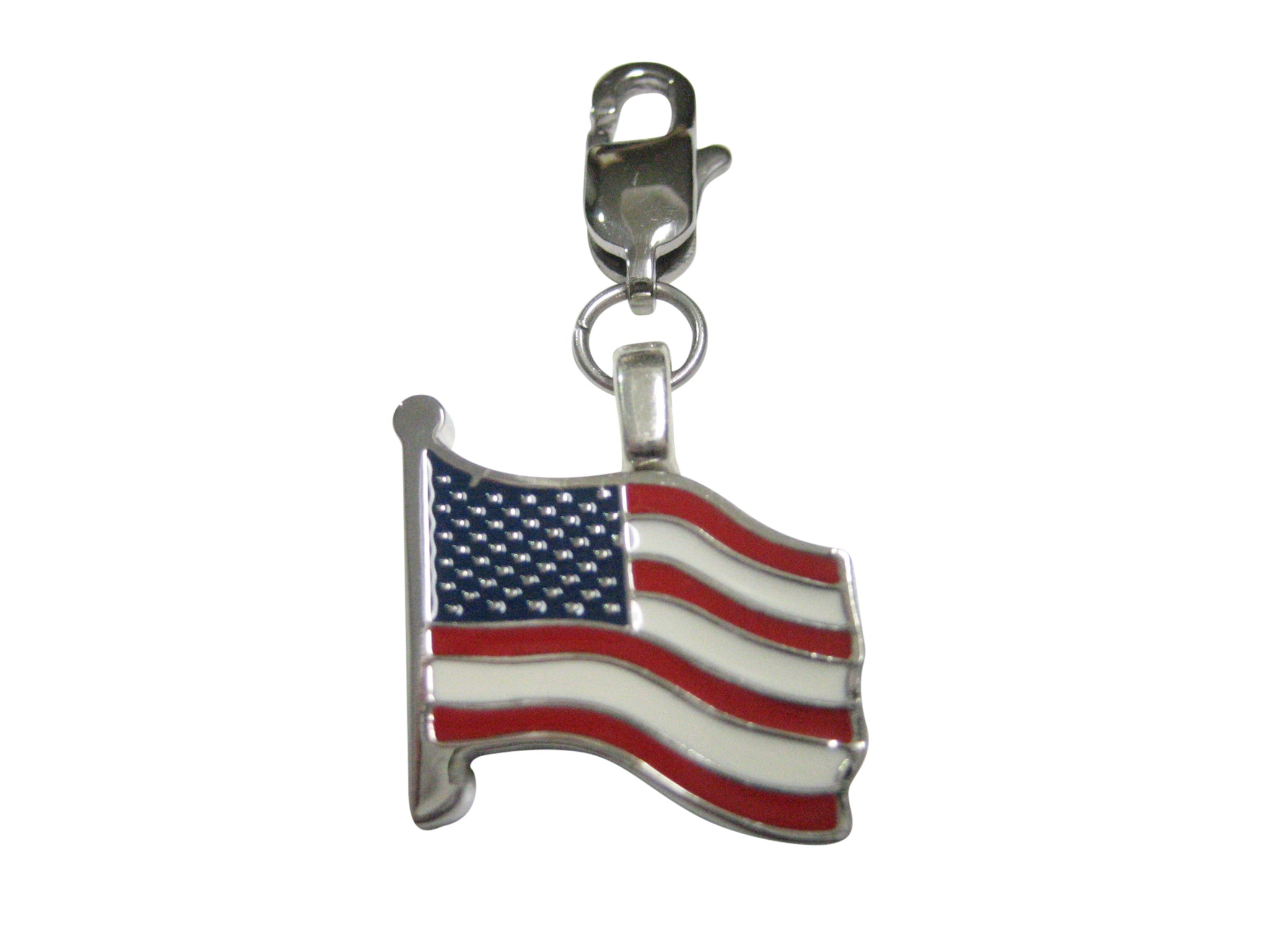 Waving USA American Flag Pendant Zipper Pull Charm