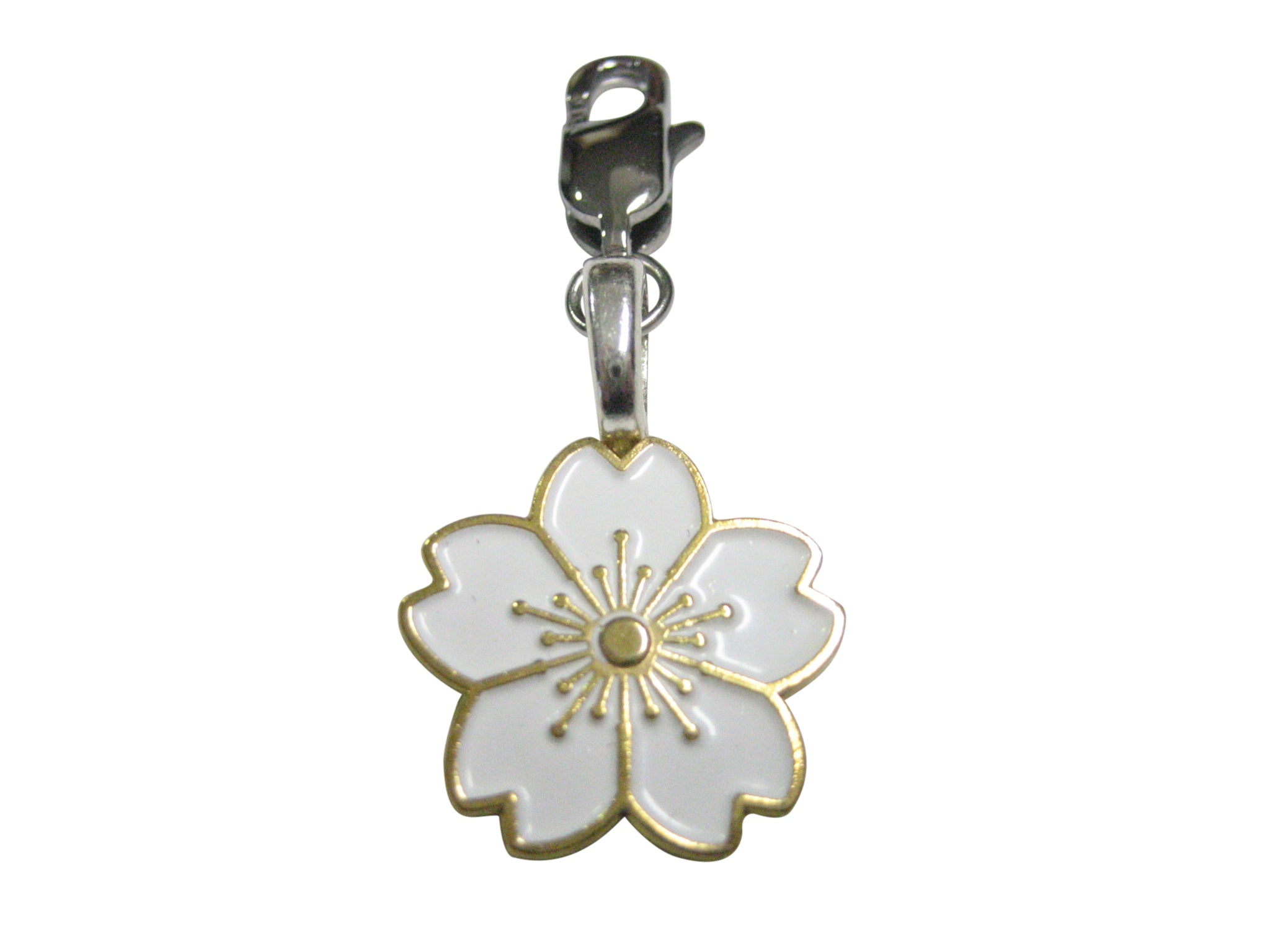 White Cherry Blossom Flower Pendant Zipper Pull Charm