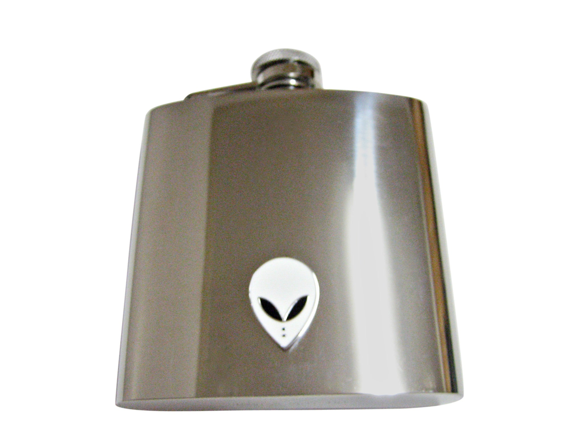 White Alien Head 6 Oz. Stainless Steel Flask