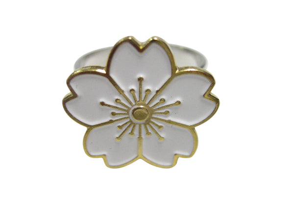 White Cherry Blossom Flower Adjustable Size Fashion Ring