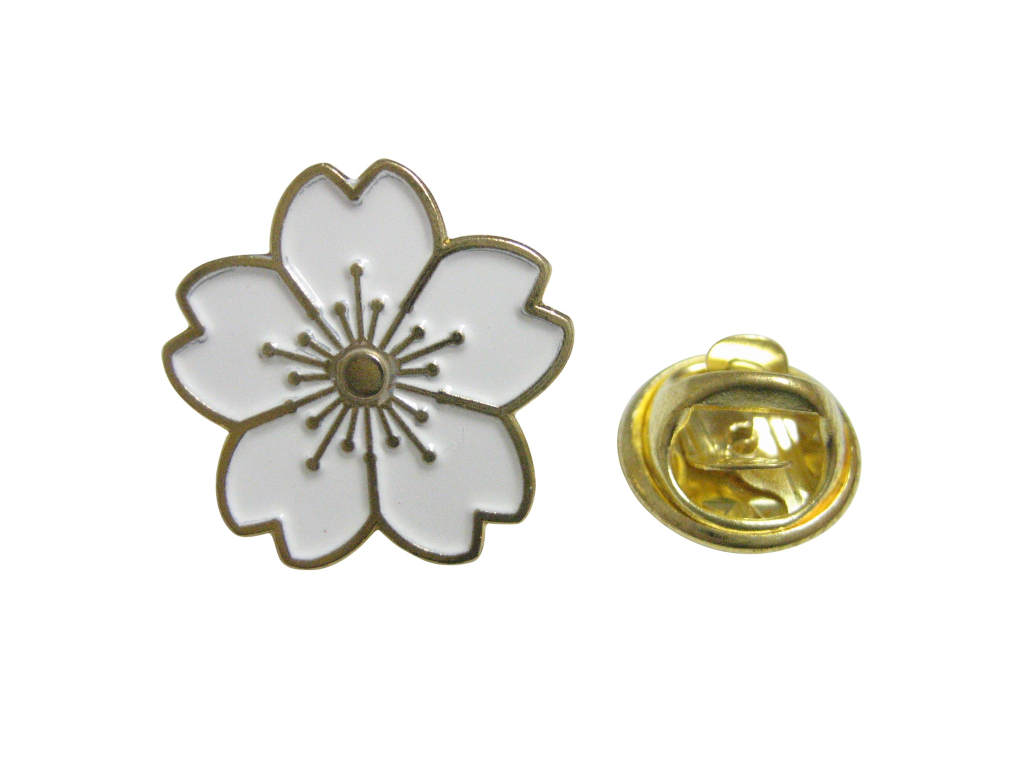 White Cherry Blossom Flower Lapel Pin