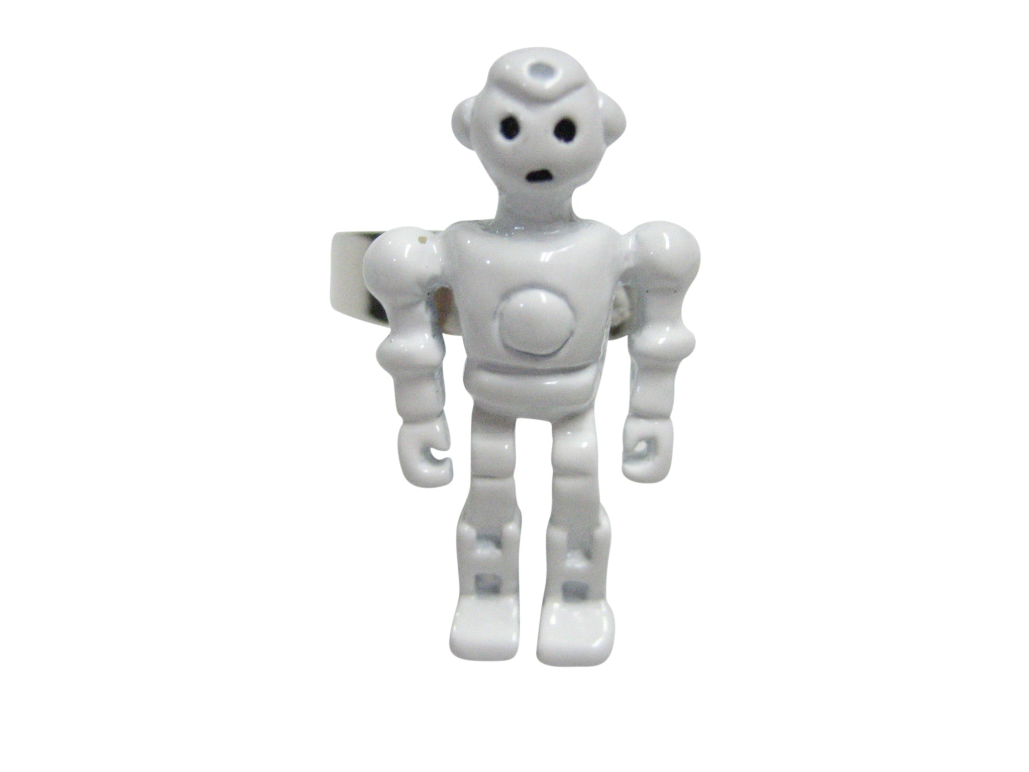 White Full Creepy Robot Adjustable Size Fashion Ring