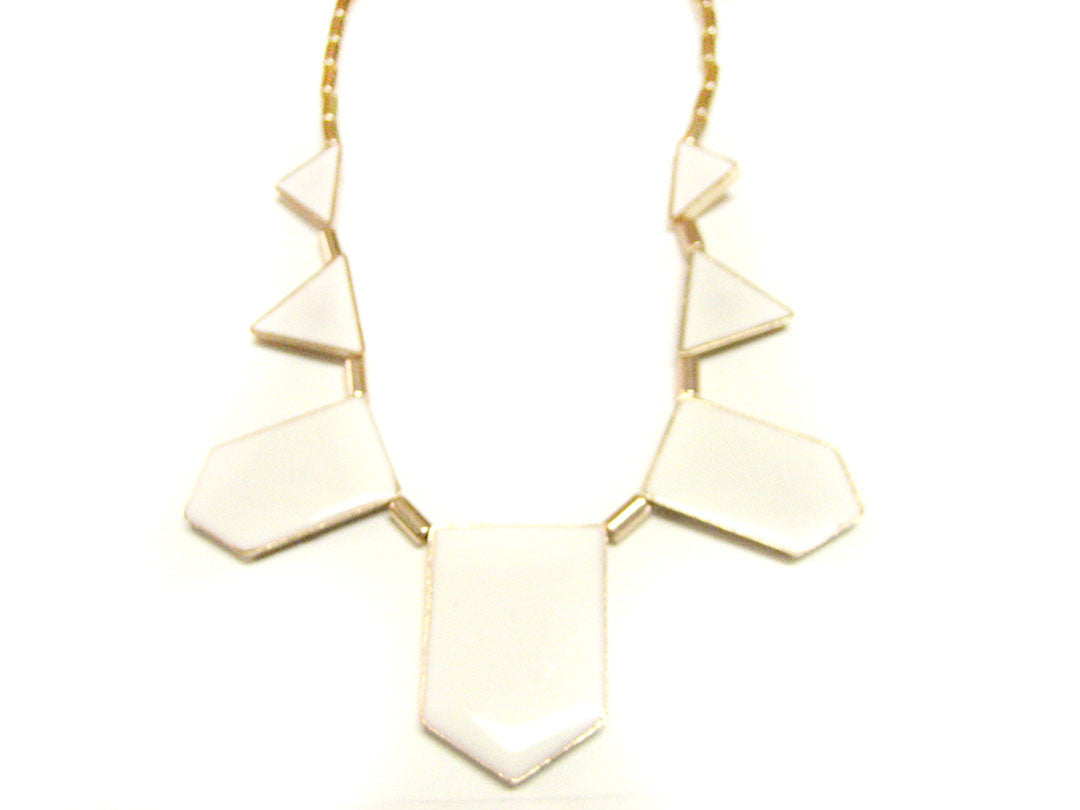 White Geometric Necklace