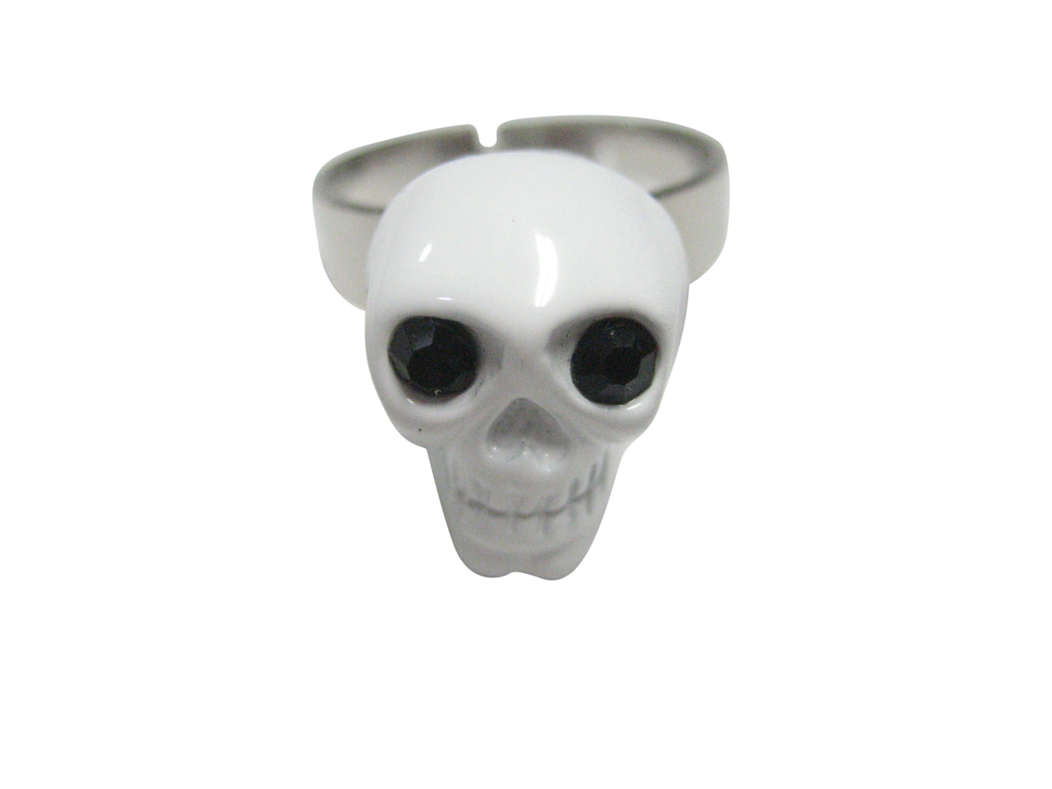 White Skull Head Adjustable Size Fashion Ring