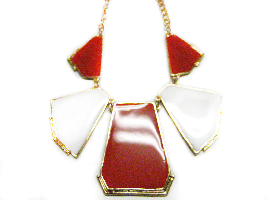 White and Red Geometric Necklace