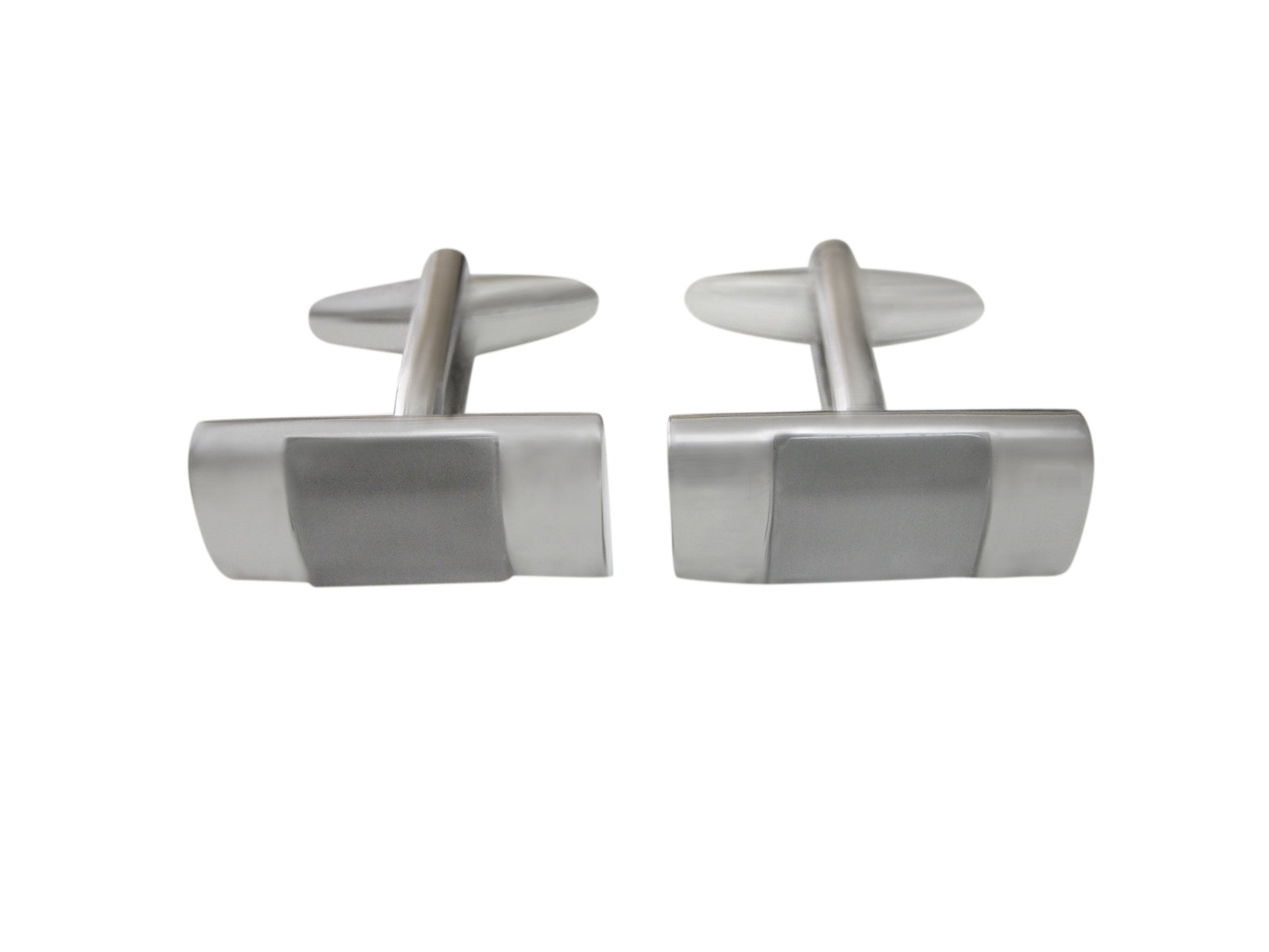 White and Transparent Rectangular Cufflinks