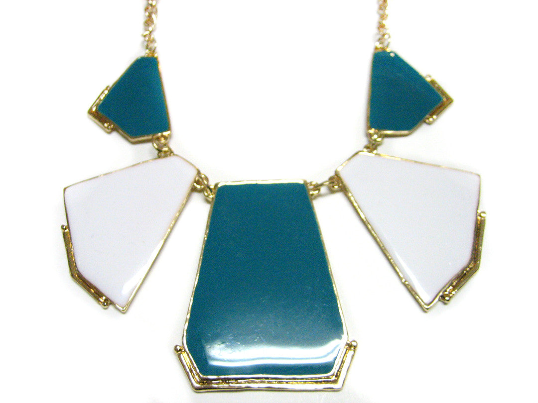 White and Turquoise Geometric Necklace