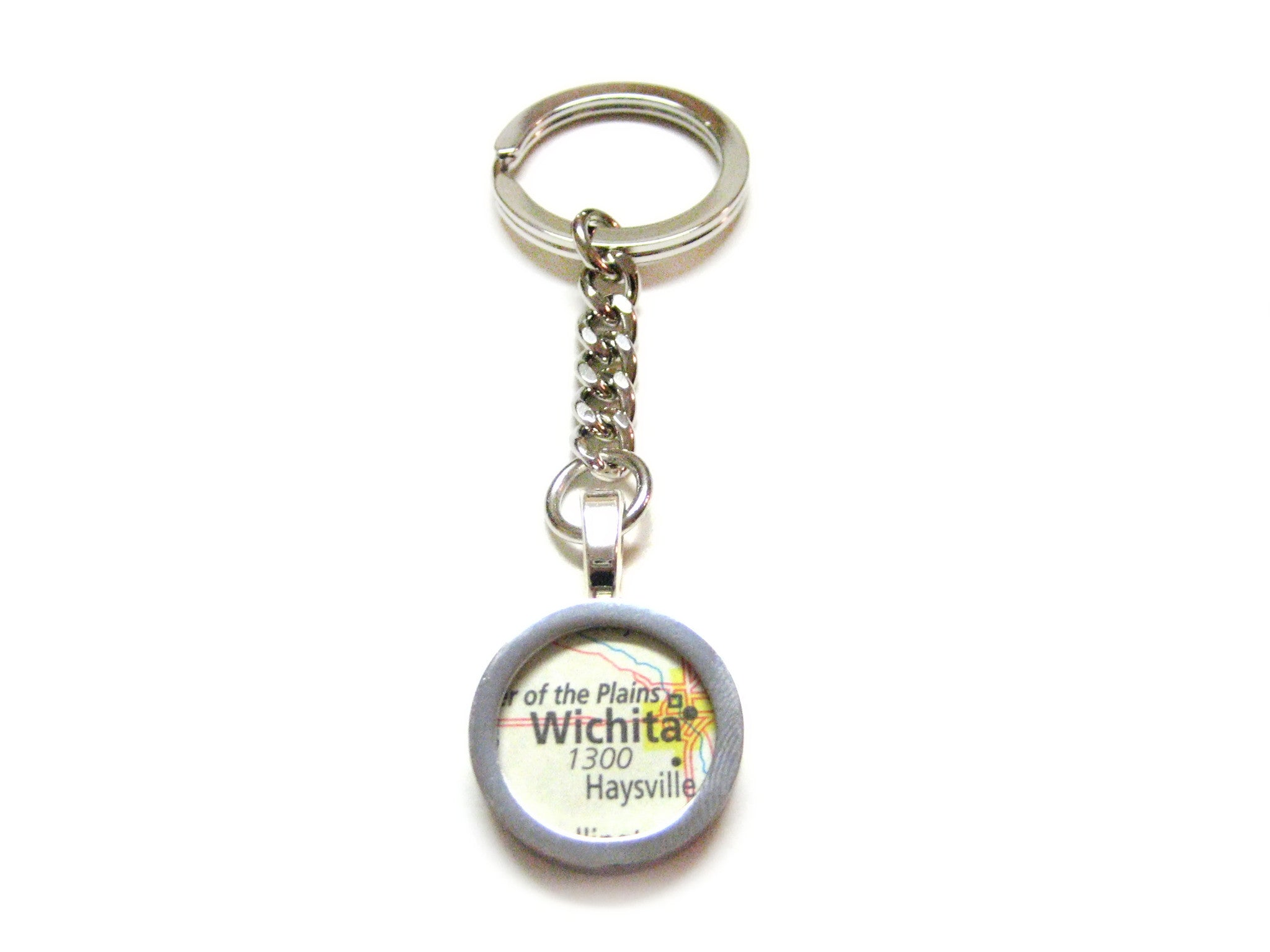 Wichita Kansas Map Pendant Keychain