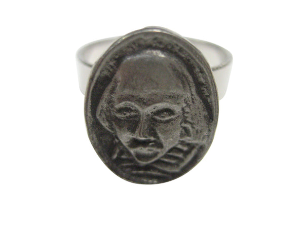 William Shakespeare Head Oval Pendant Adjustable Size Fashion Ring