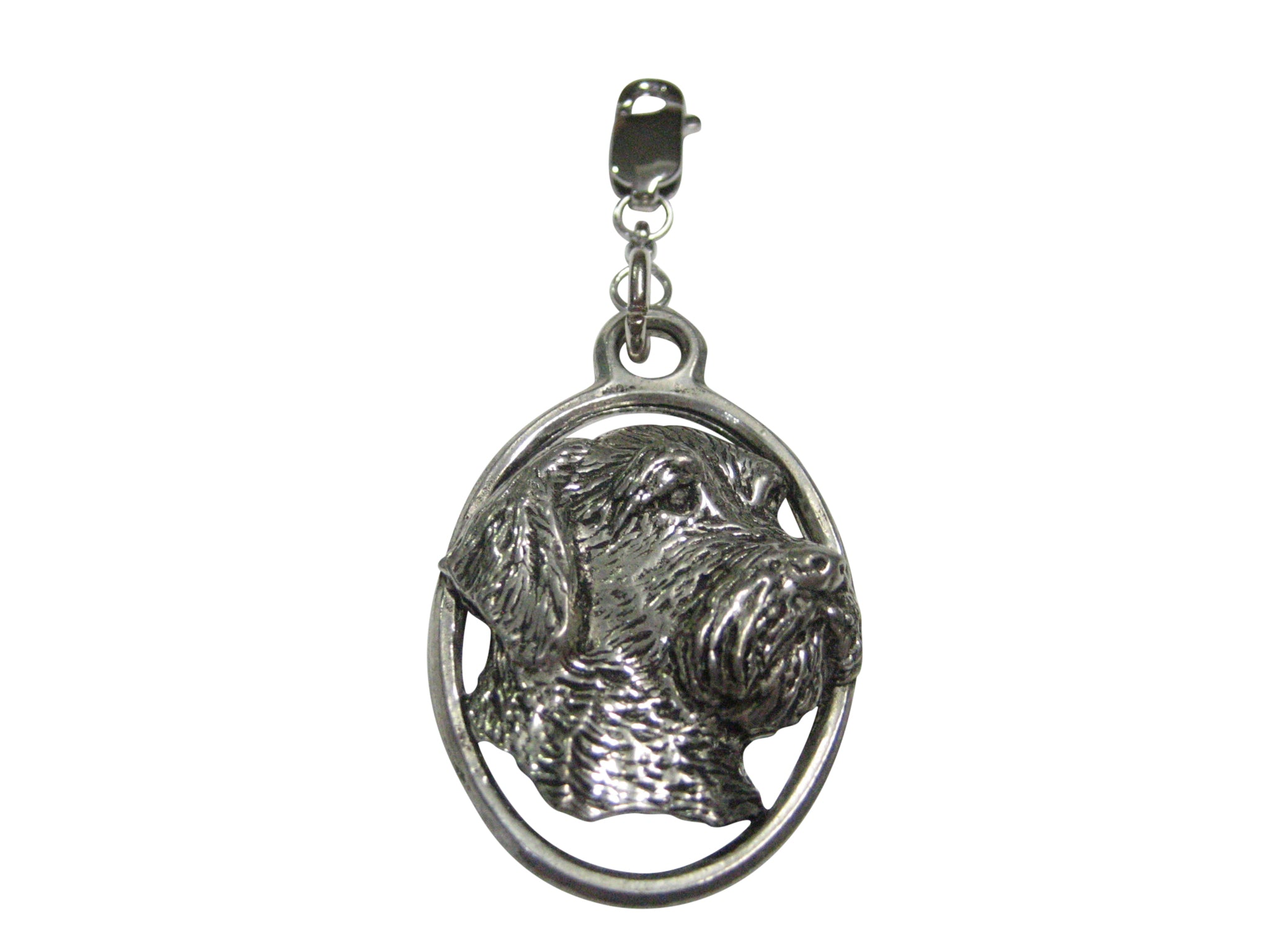 Wire Hair Dog Head Large Oval Pendant Zipper Pull Charm