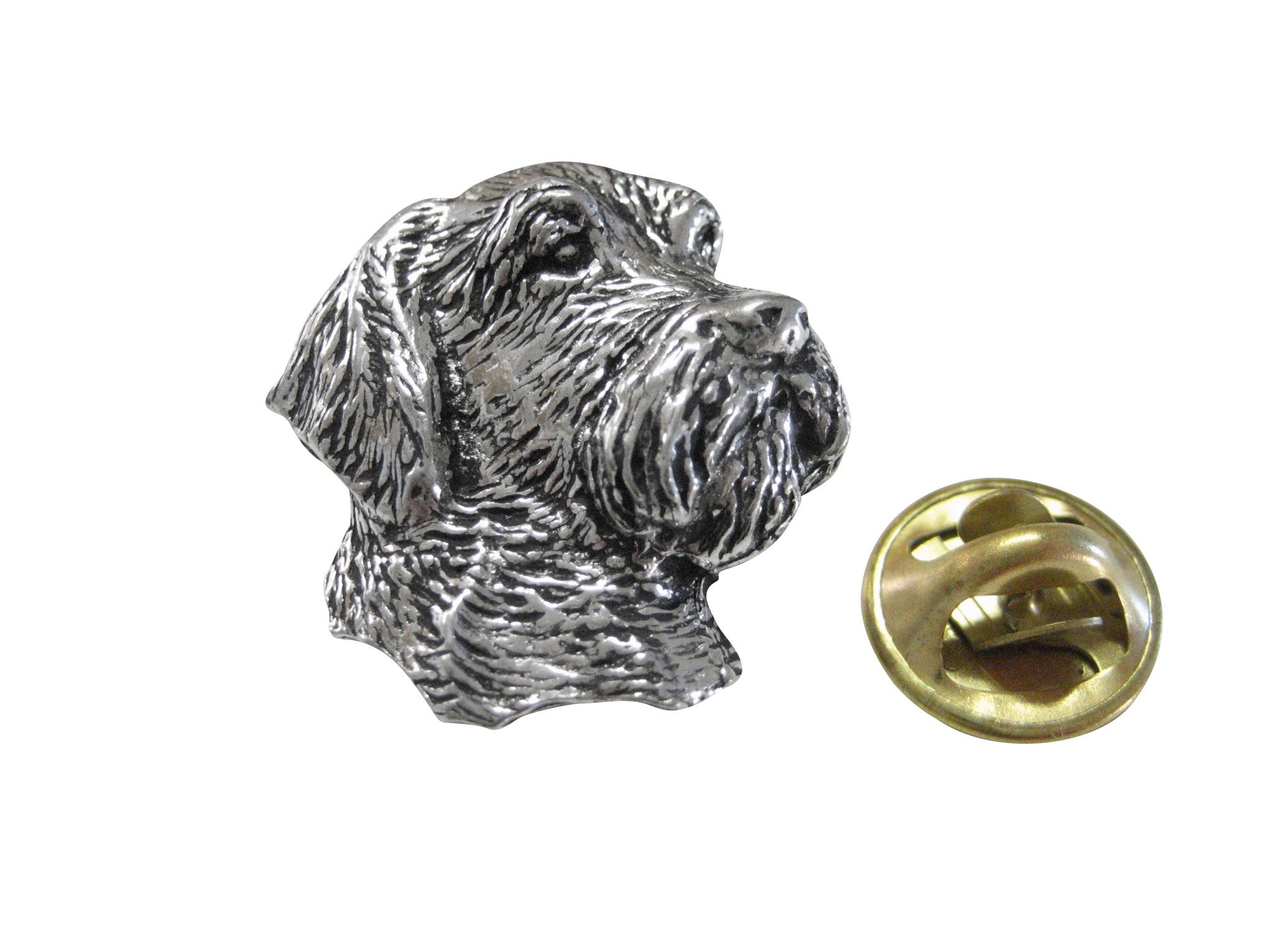 Wire Hair Dog Head Lapel Pin