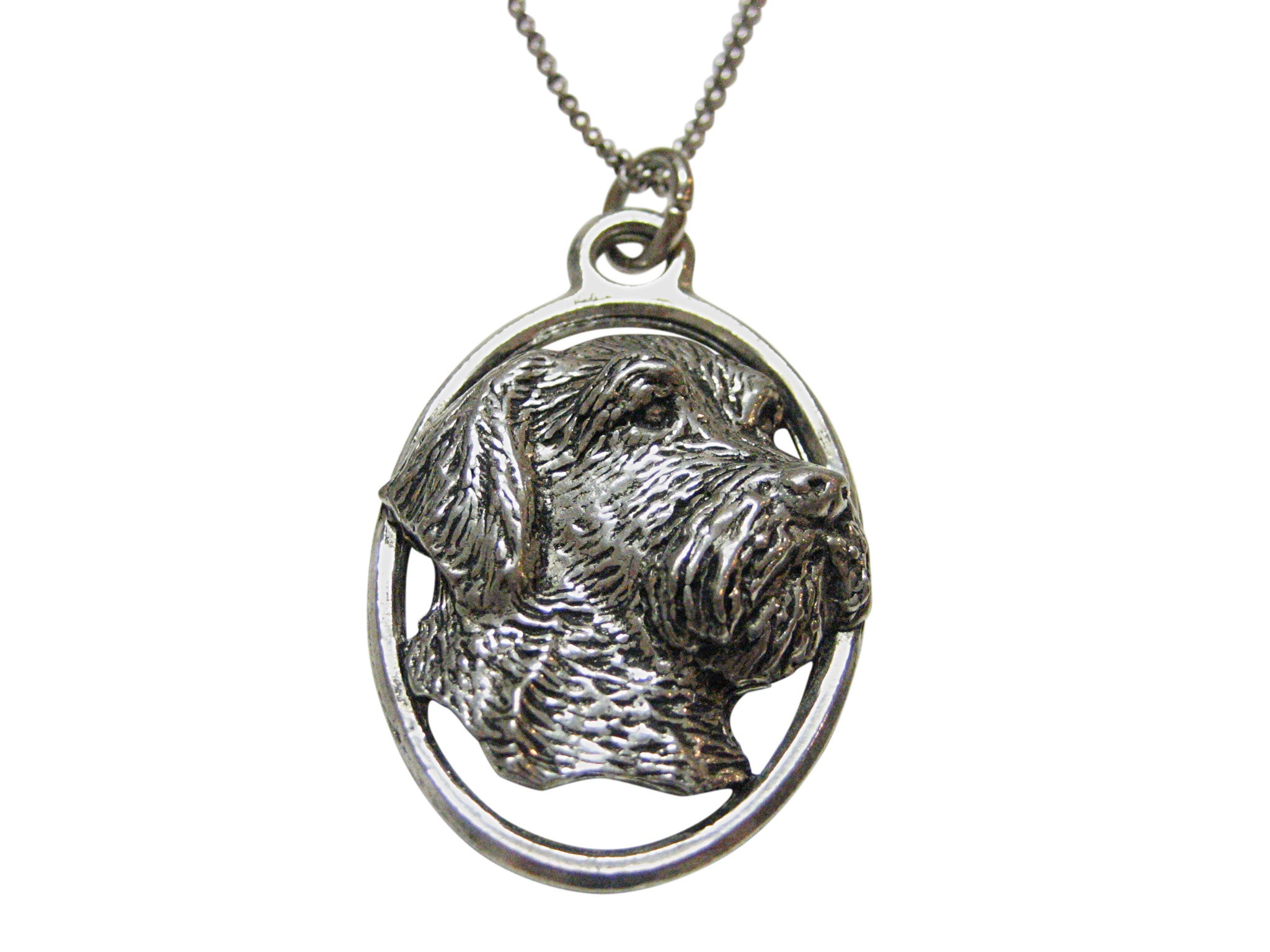 Wire Hair Dog Large Oval Pendant Necklace