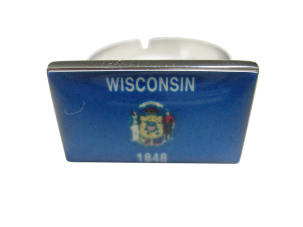 Wisconsin State Flag Adjustable Size Fashion Ring