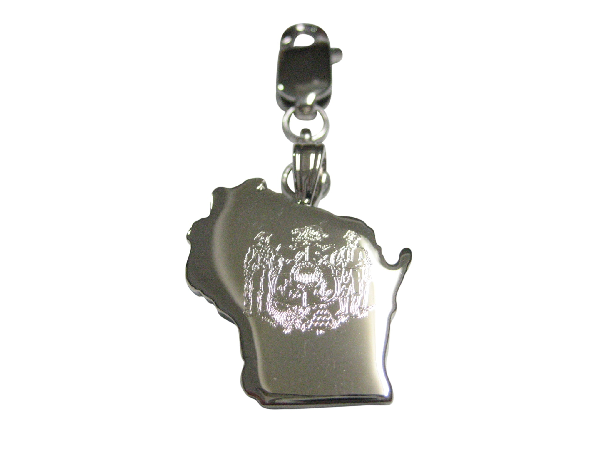 Wisconsin State Map Shape and Flag Design Pendant Zipper Pull Charm