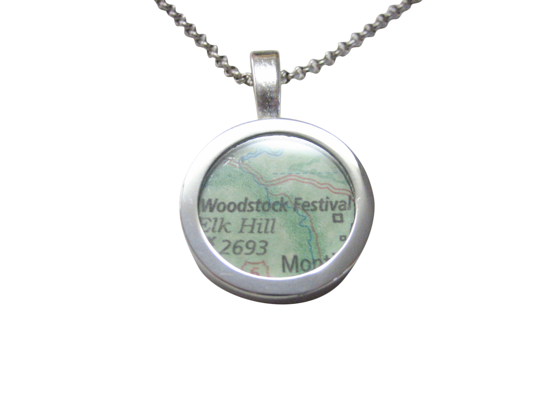 Woodstock Festival Map Pendant Necklace