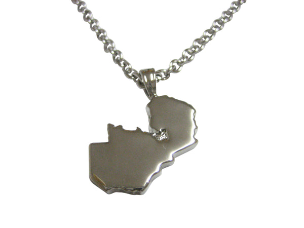 Zambia Map Shape Pendant Necklace