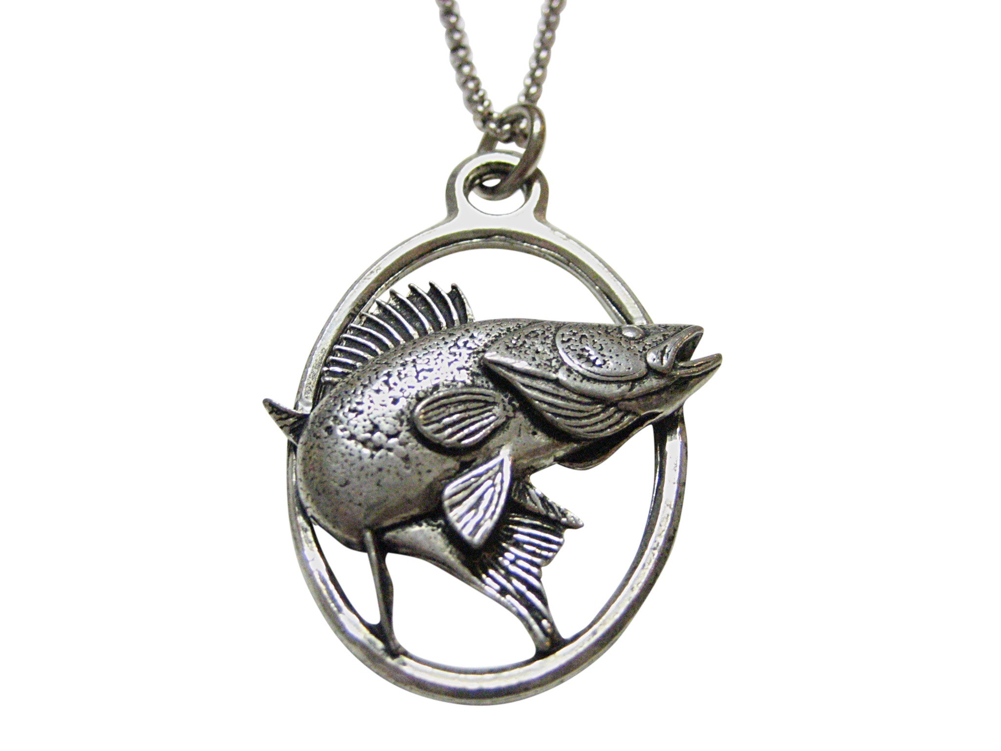 Zander Walleye Fish Large Oval Pendant Necklace