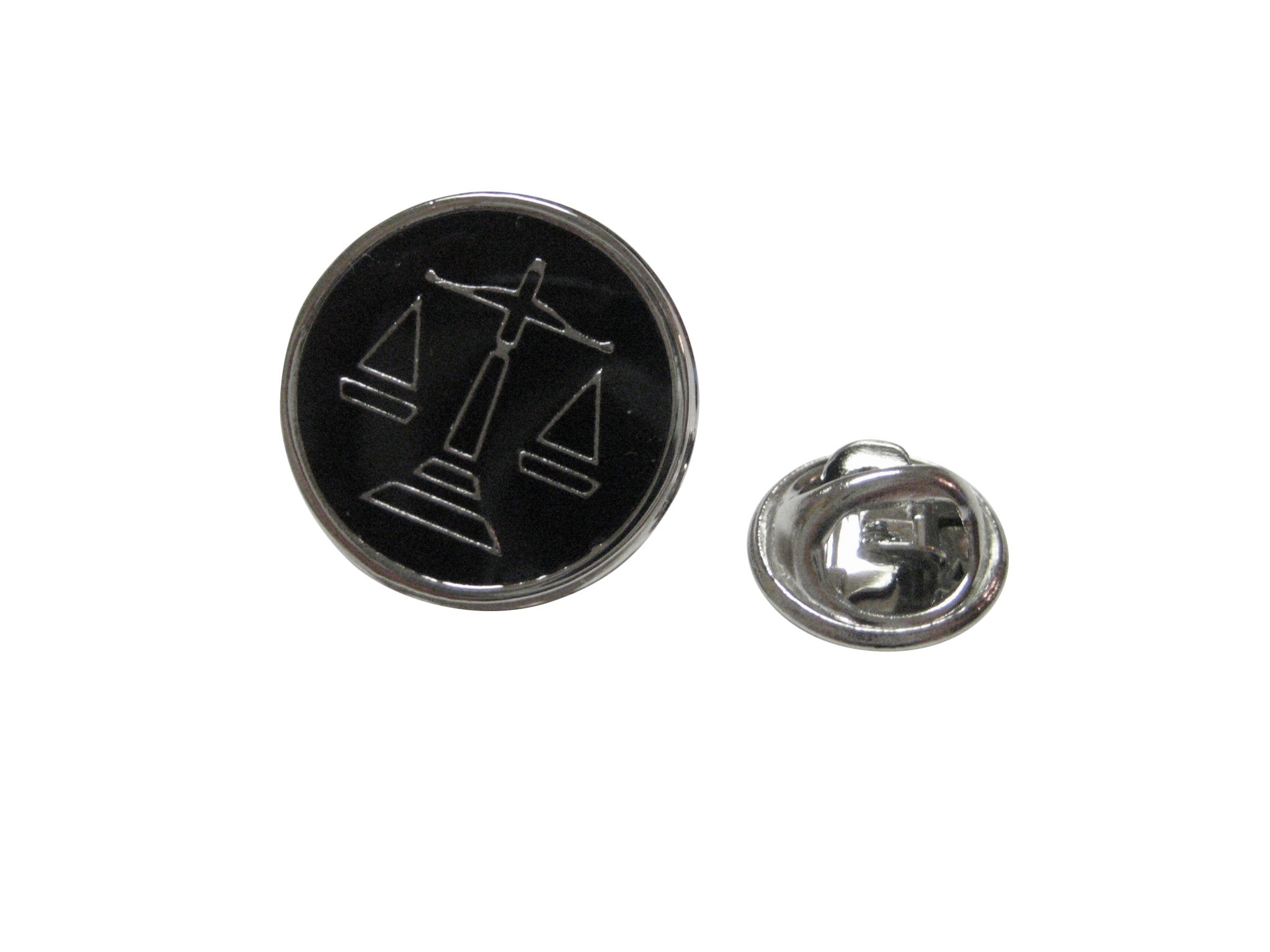 Black Scale of Justice Lapel Pin