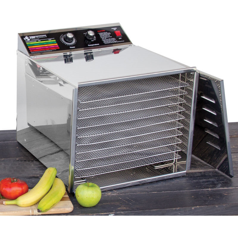 "D10 Stainless Steel Food Dehydrator, 1/4"" Shelves"