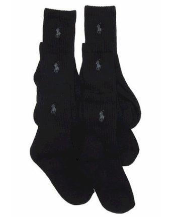 Polo Ralph Lauren Boy's 6-Pack Black Crew Socks